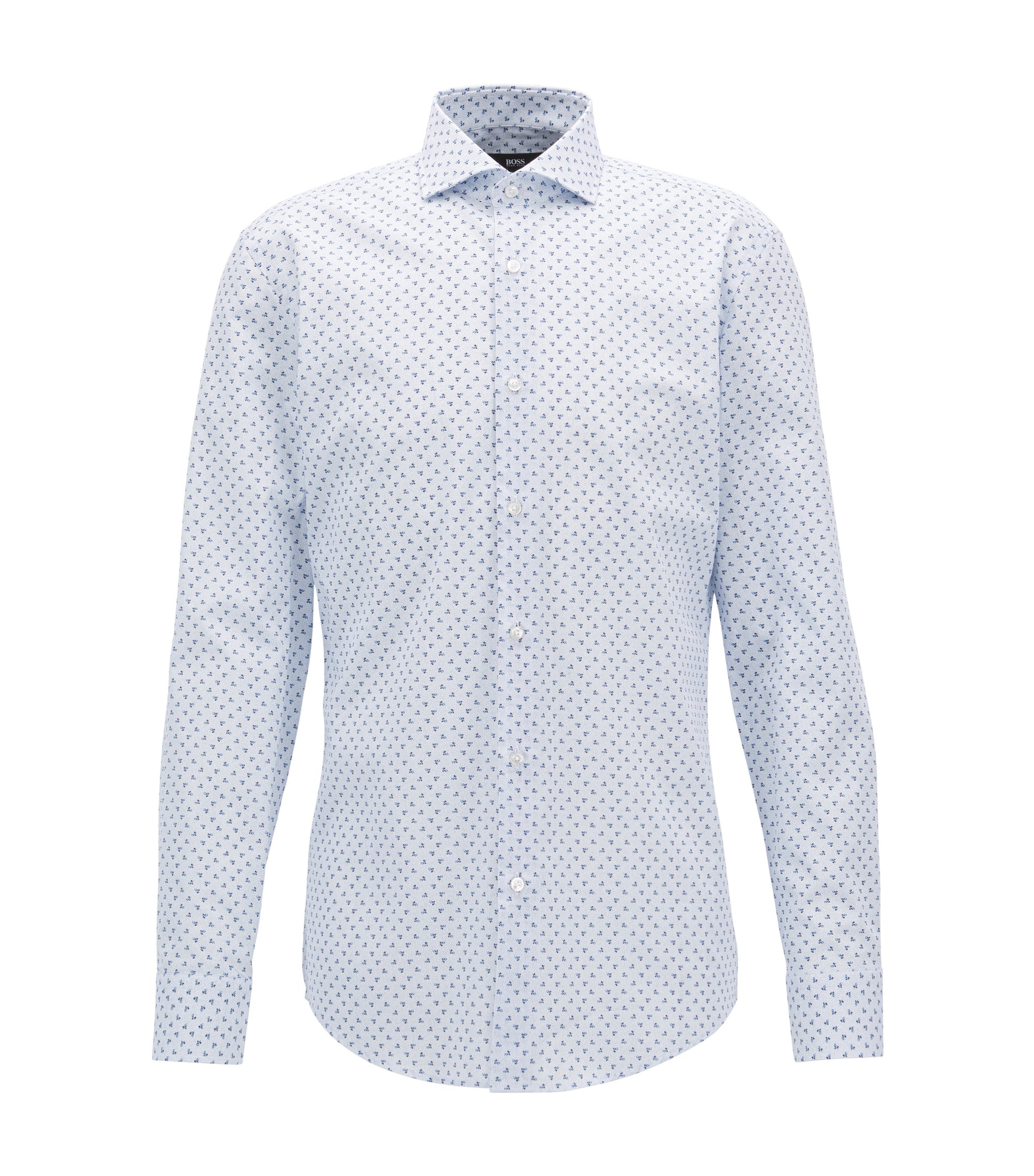 Floral-Print Cotton Dress Shirt, Slim Fit | Ismo, Light Blue