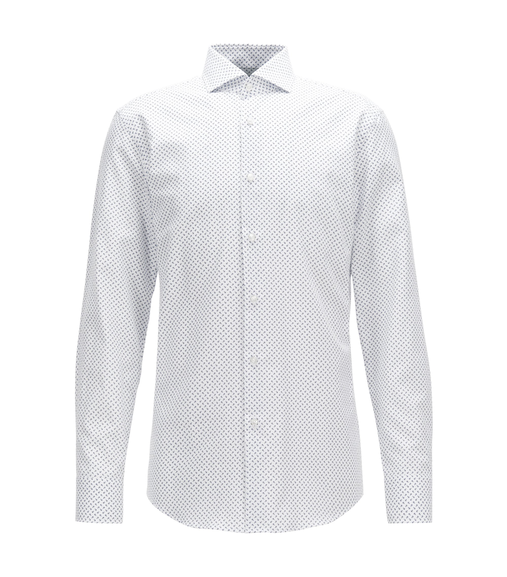 Printed Cotton Dress Shirt, Slim Fit | Jason, White