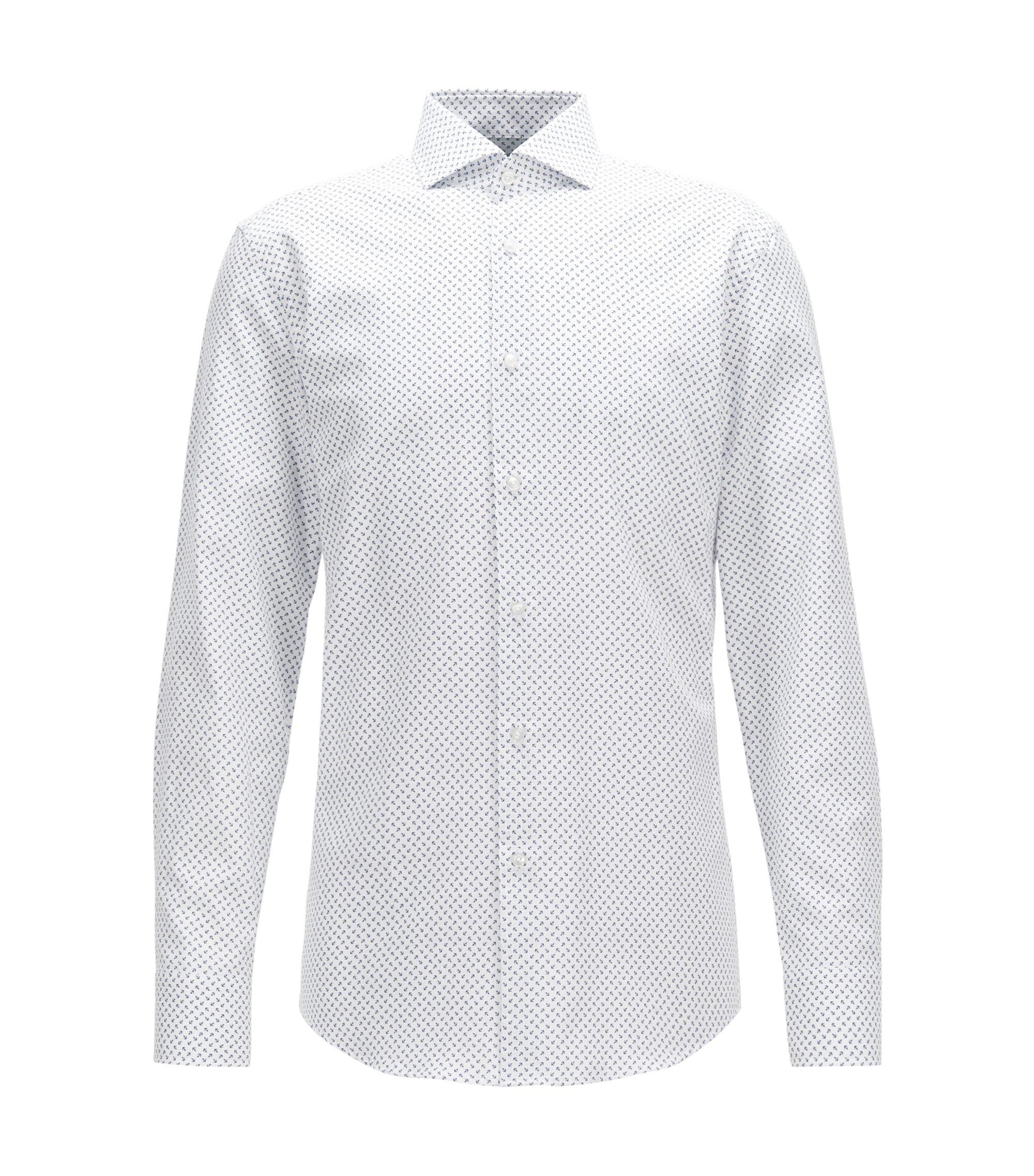 Printed Cotton Dress Shirt, Slim Fit | Jason, White