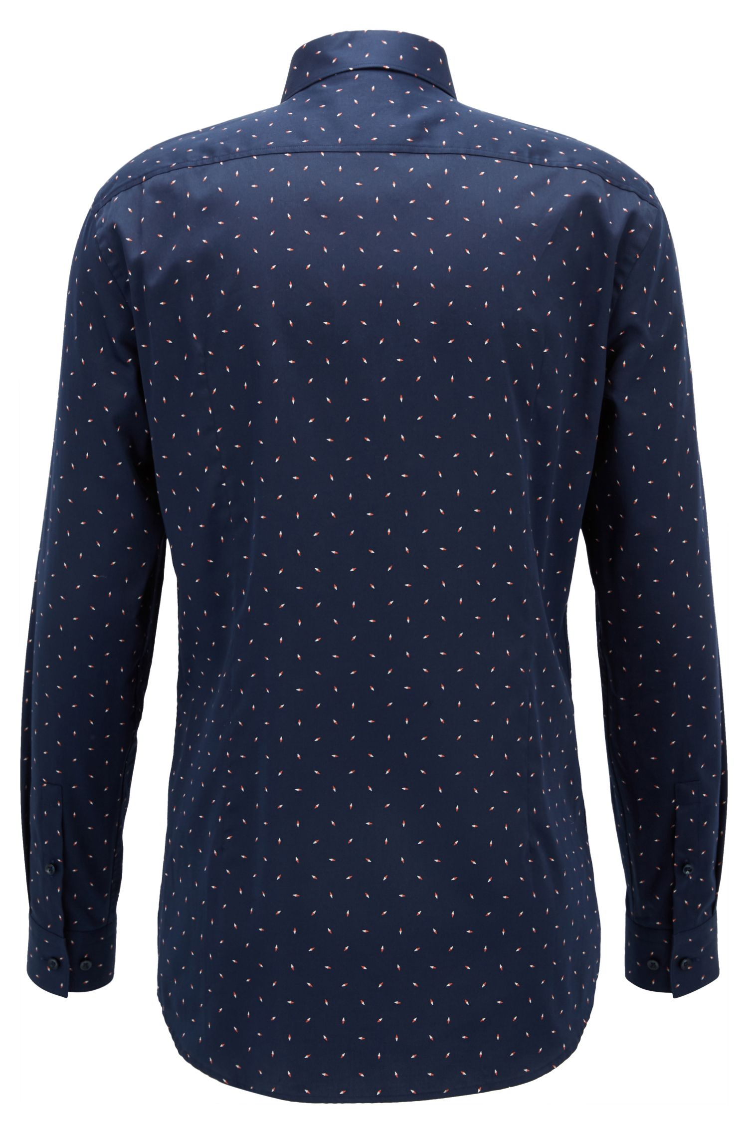 Patterned Cotton Dress Shirt, Slim Fit | Ismo, Dark Blue