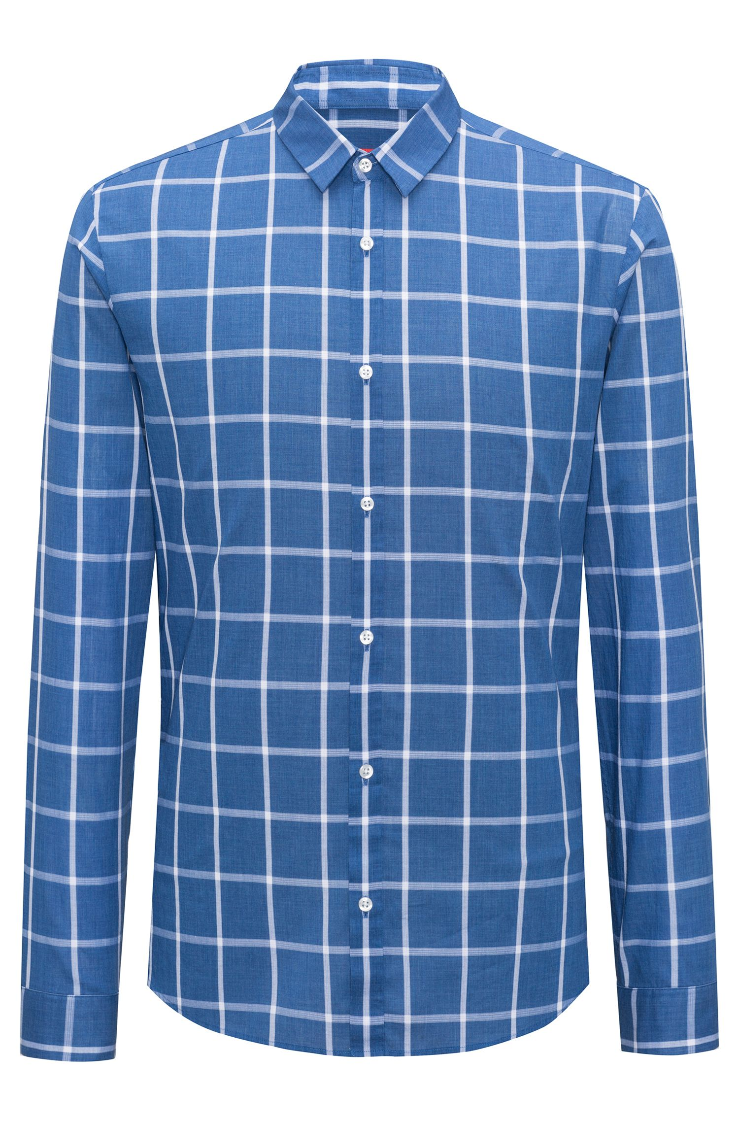 Cotton Sport Shirt, Extra Slim Fit | Ero W, Open Blue