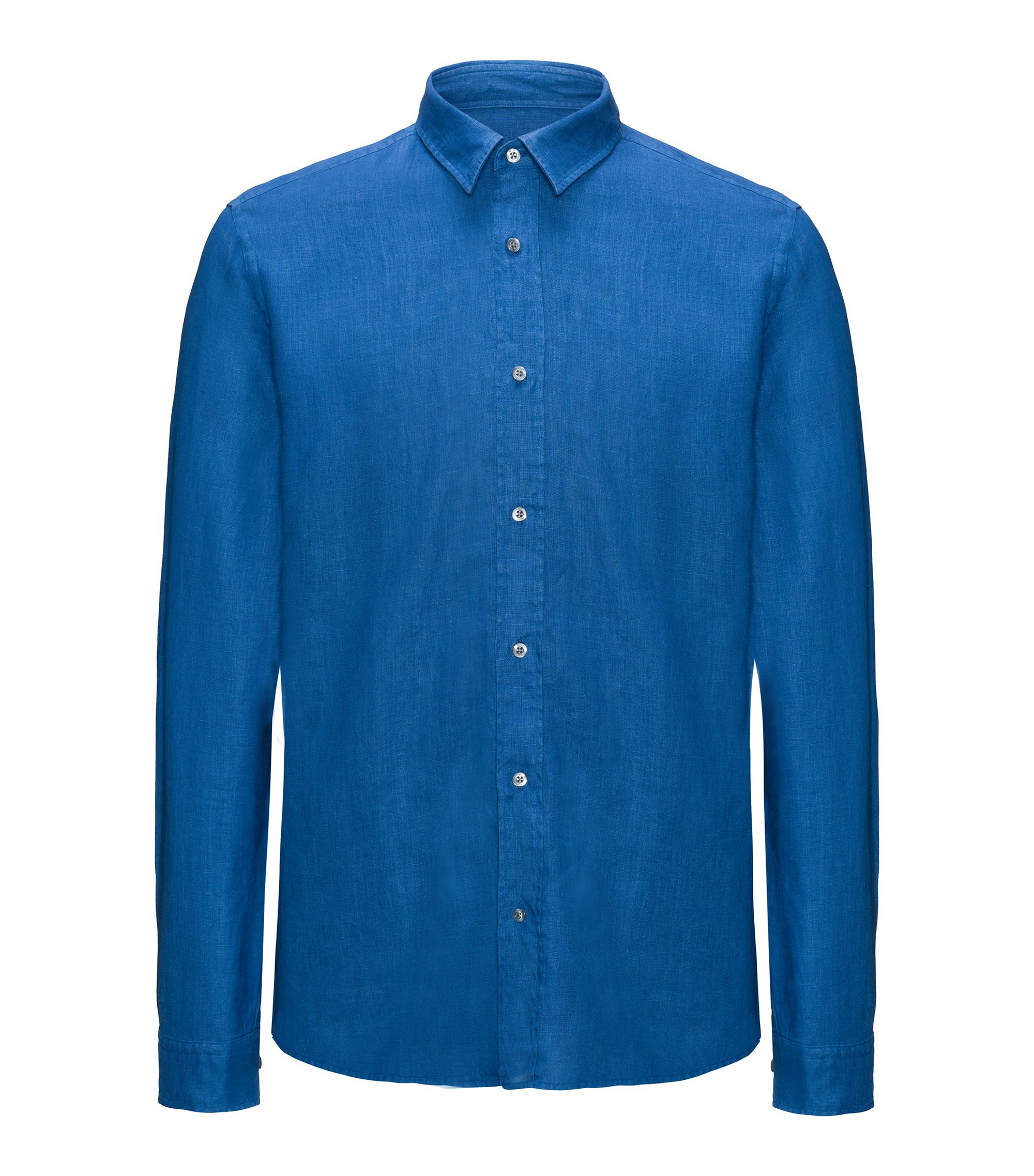 Linen Sport Shirt, Relaxed Fit | Evory, Open Blue