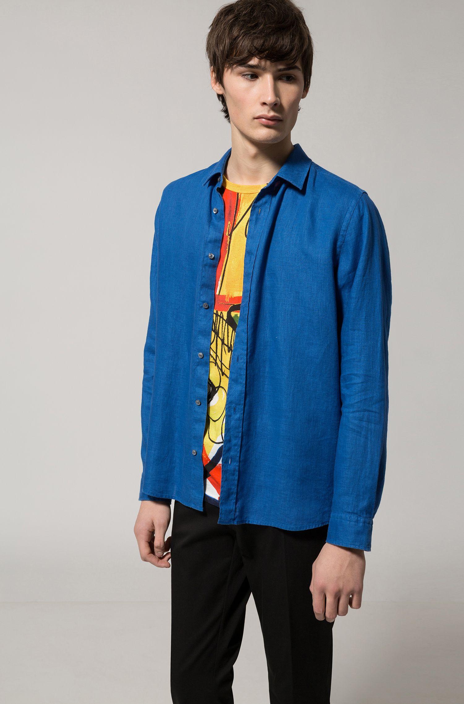 Linen Sport Shirt, Relaxed Fit | Evory, Open Blue