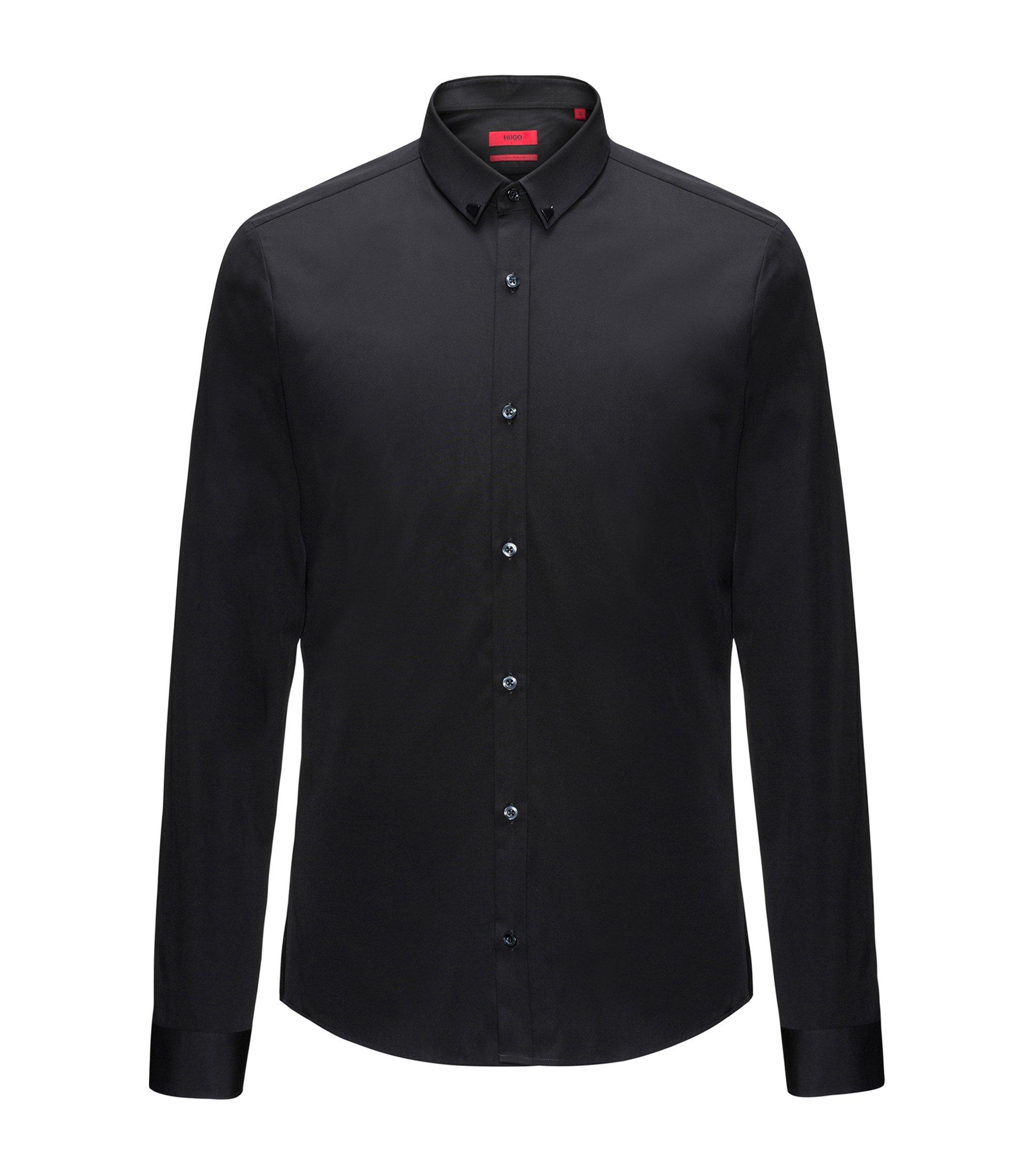 Jeweled Cotton Sport Shirt, Extra Slim Fit | Ero, Black
