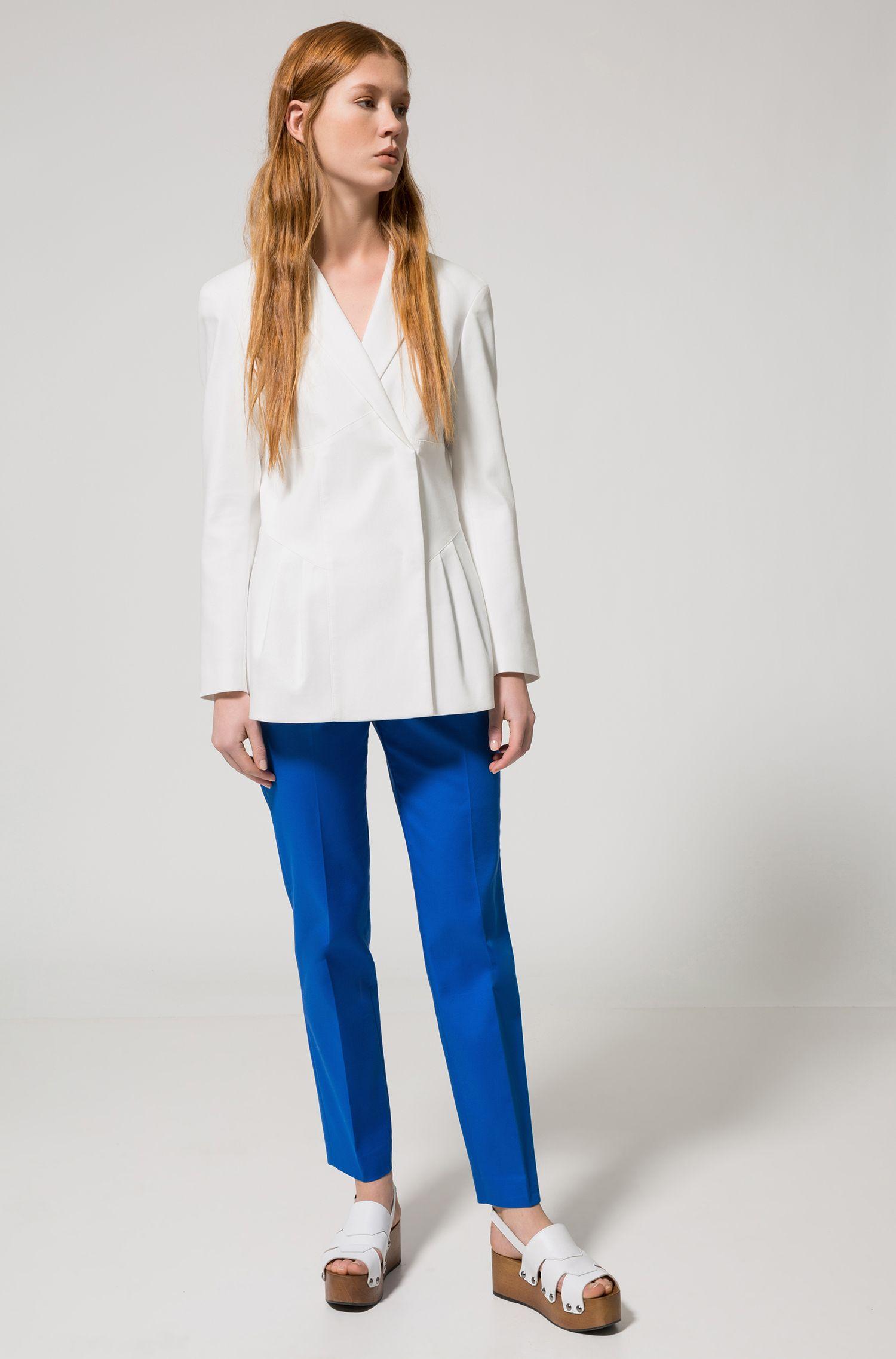 Pleated Stretch Cotton Blazer | Azini