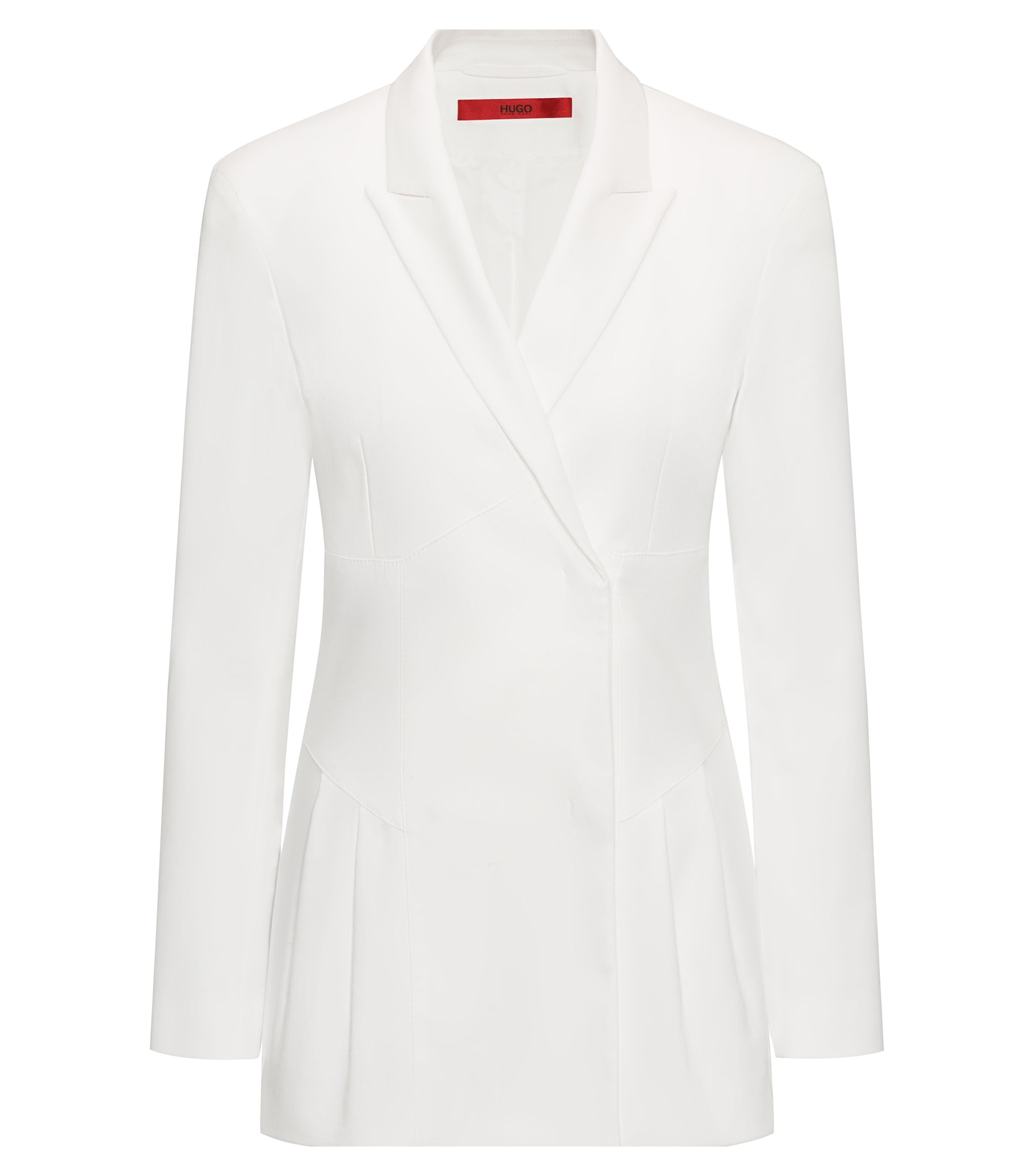 Pleated Stretch Cotton Blazer | Azini, Natural