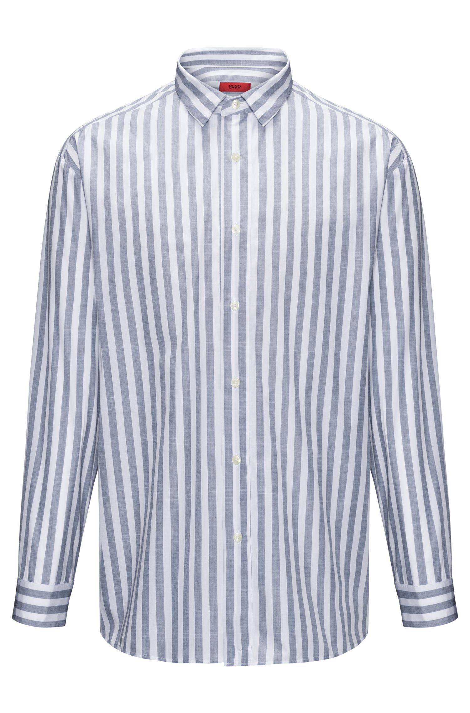 Striped Cotton Sport Shirt, Relaxed Fit | Emilton, Open White