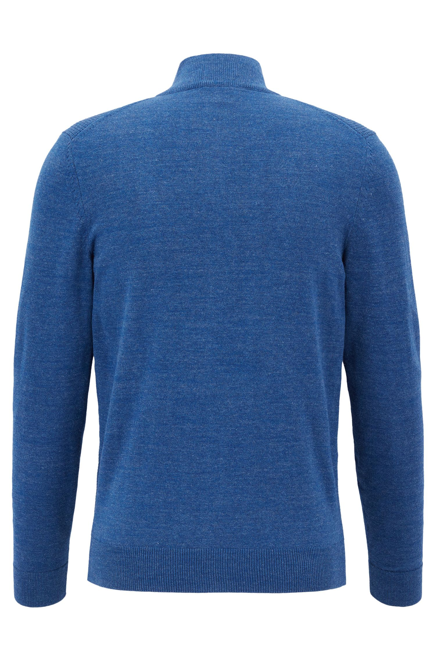 Waffle-Knit Cotton Full-Zip Sweater | Devino, Blue