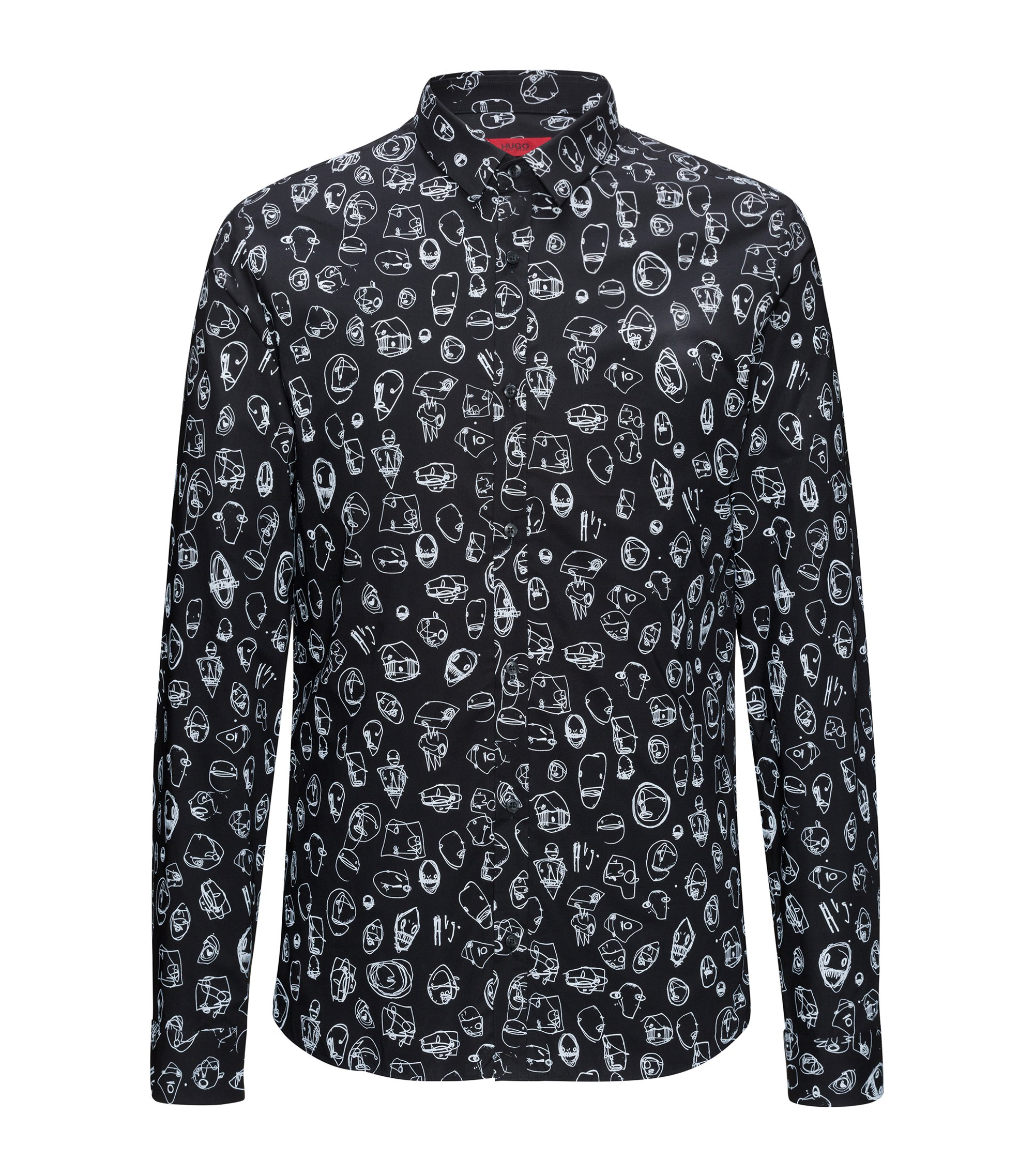 Doodle Cotton Sport Shirt, Extra Slim Fit | Ero, Black