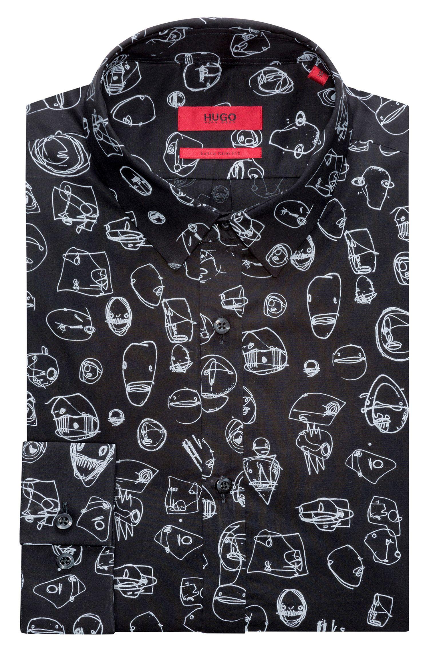 Doodle Cotton Sport Shirt, Extra Slim Fit | Ero, Black