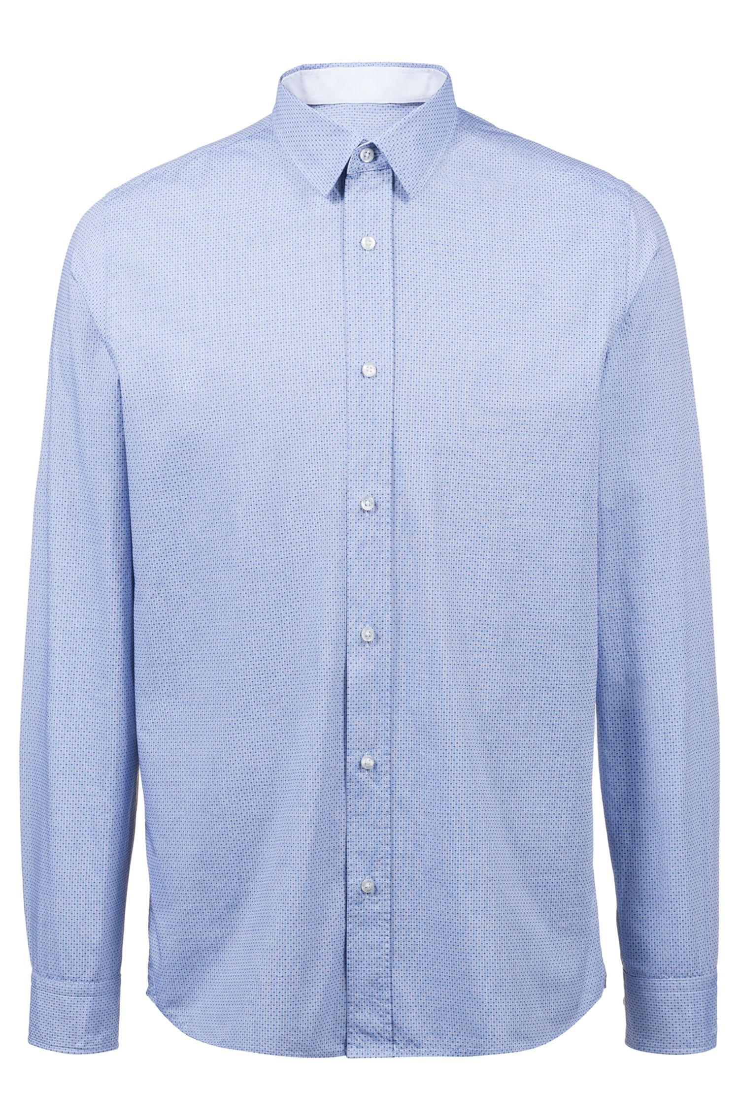 Relaxed-fit cotton shirt with a structured stripe pattern | Evory
