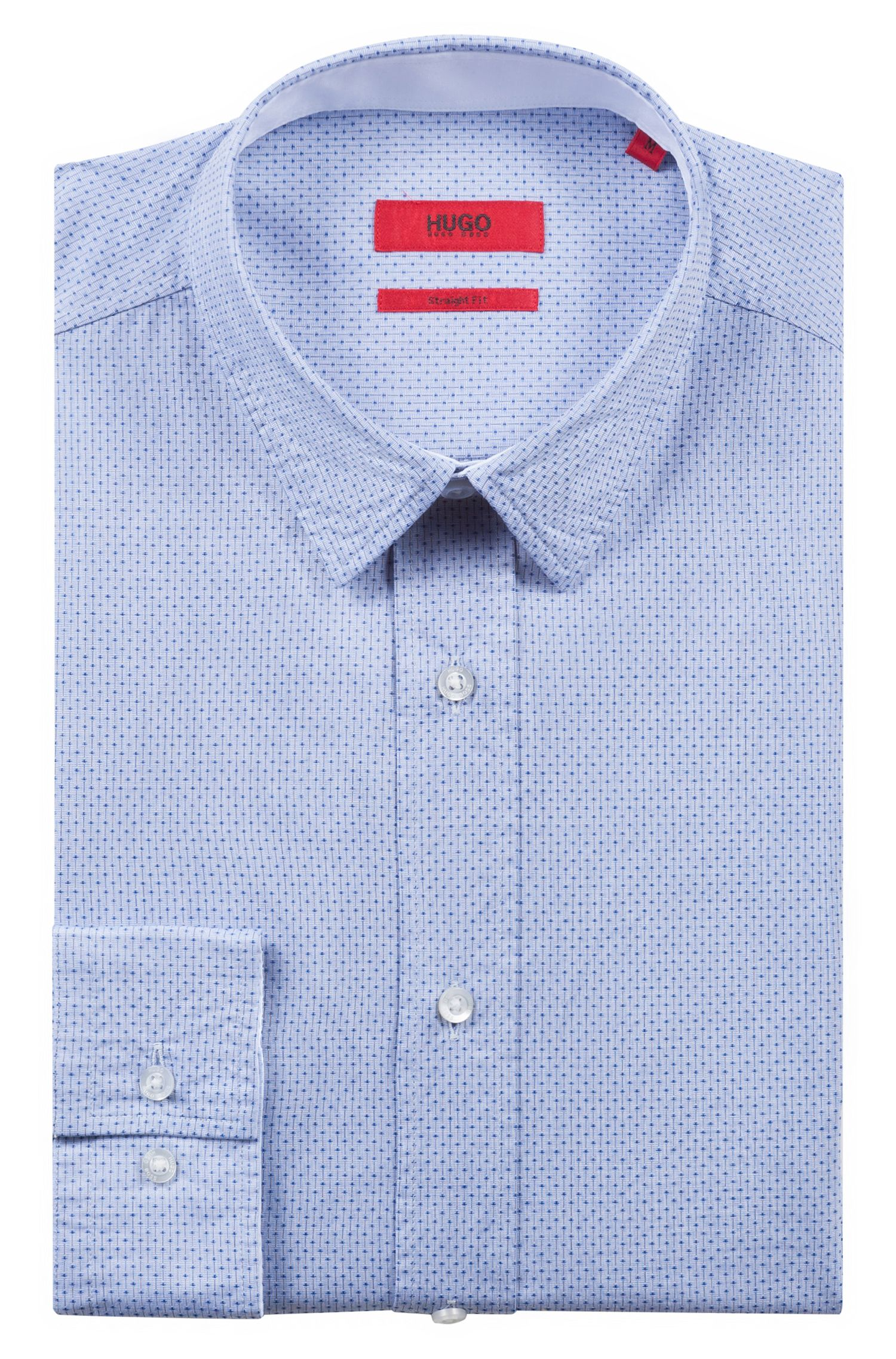 Relaxed-fit cotton shirt with a structured stripe pattern | Evory, Dark Blue