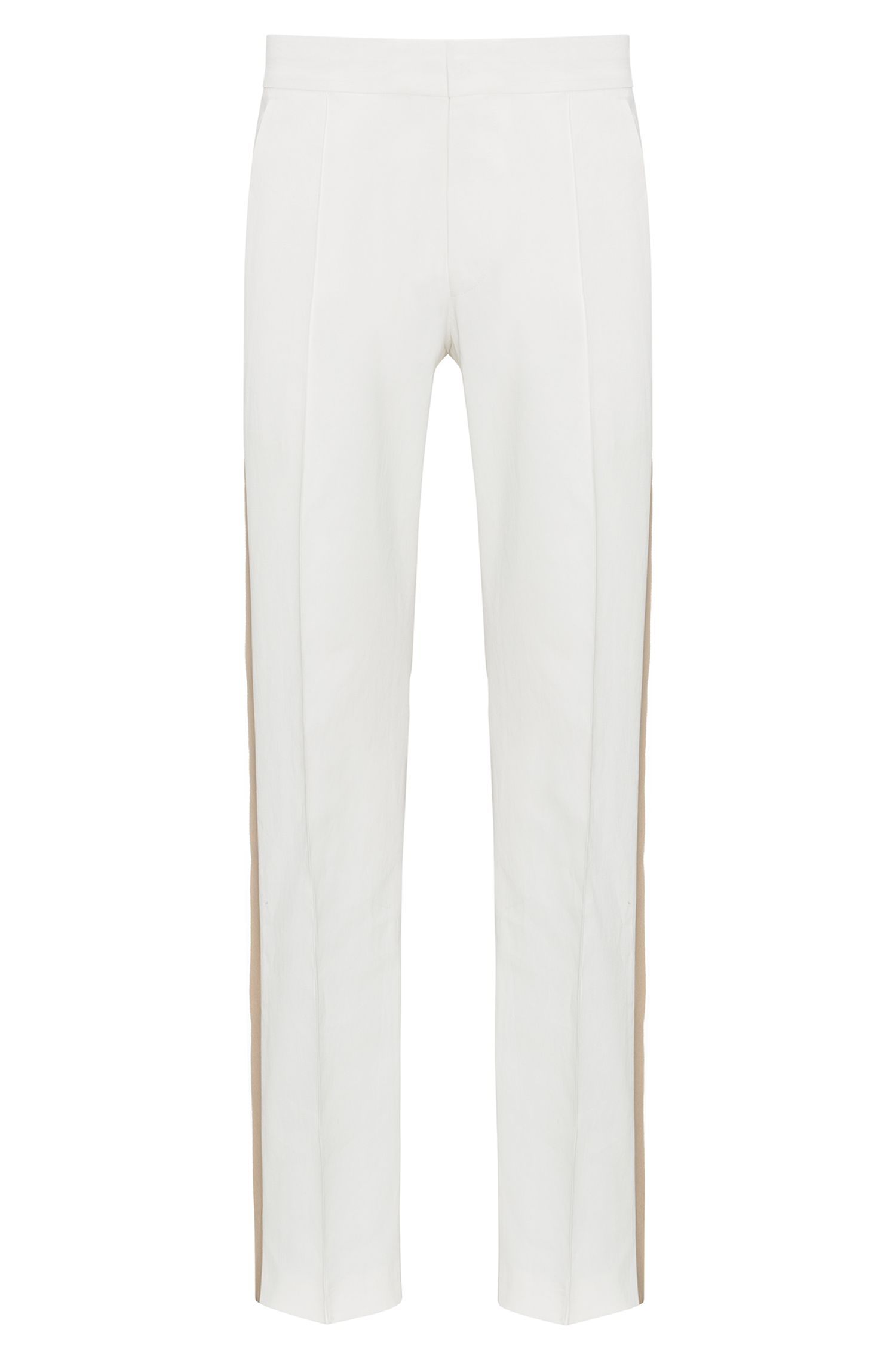 Virgin Wool Dress Pant, Oversized Fit | Fedo , Natural