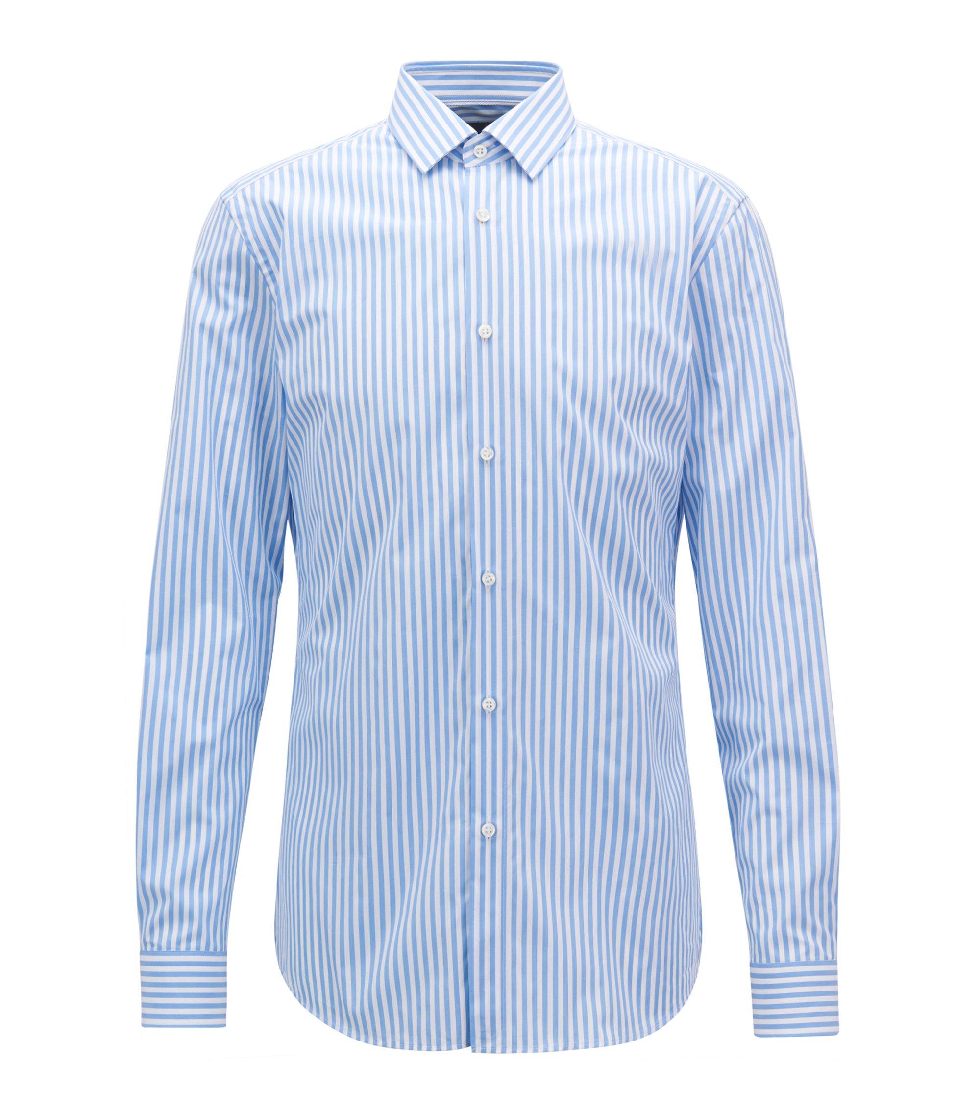 Striped Cotton Dress Shirt, Slim Fit | T-Scott, Light Blue