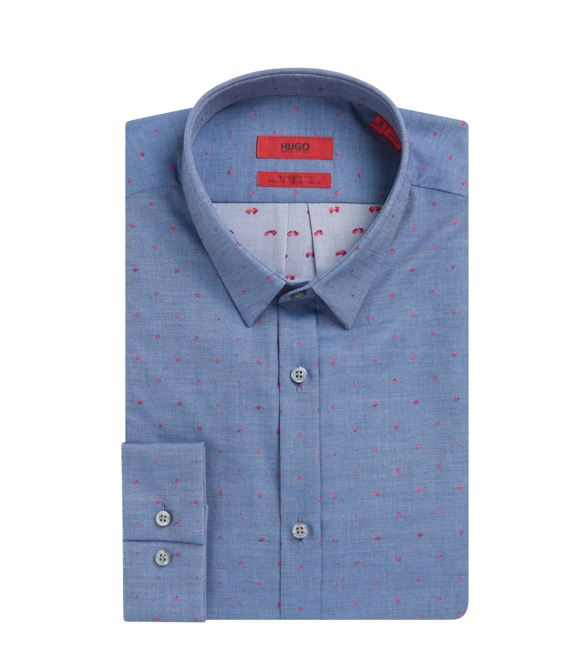 Scribbled Sport Shirt, Extra Slim Fit | Ero, Dark Blue