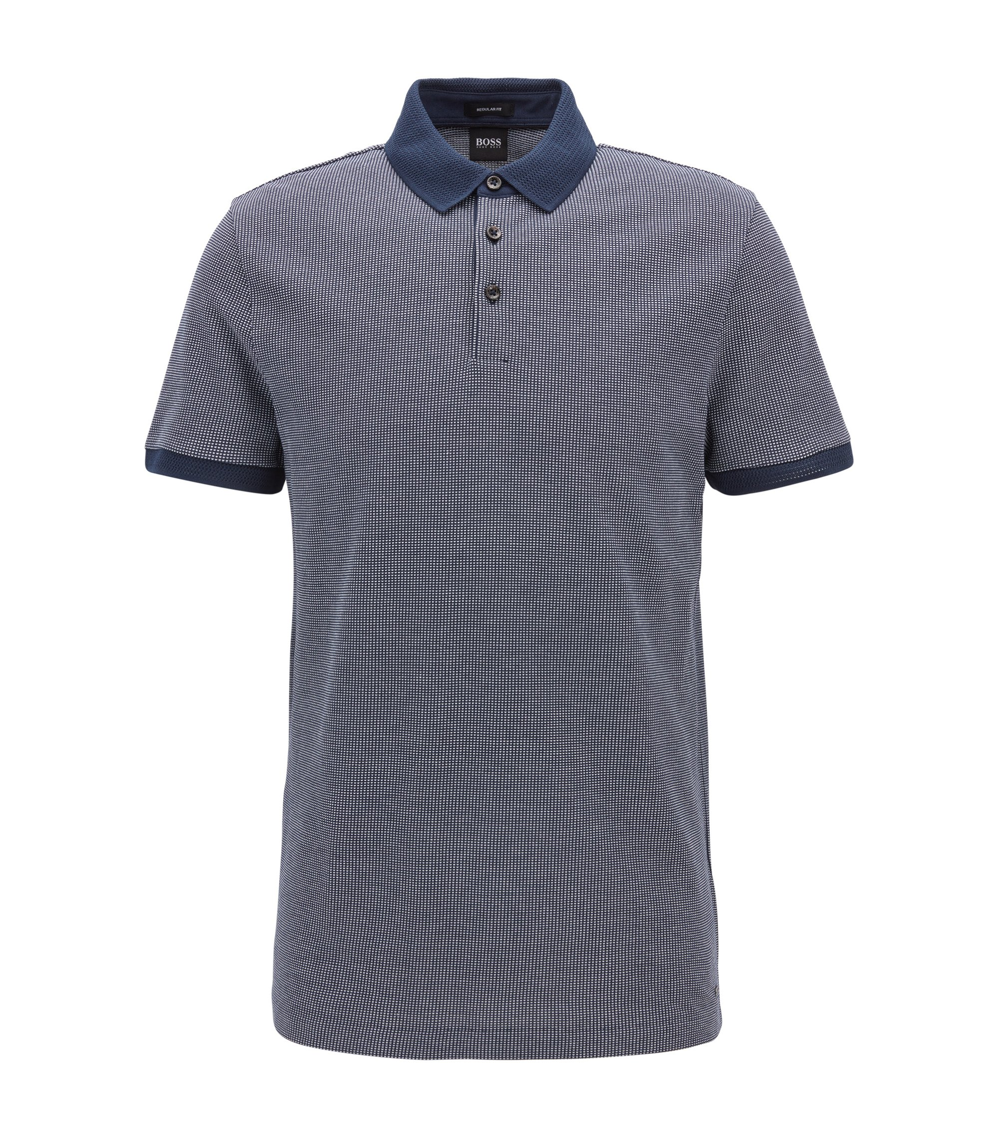 Flat-Knit Cotton Polo Shirt, Regular Fit | Prout, Dark Blue