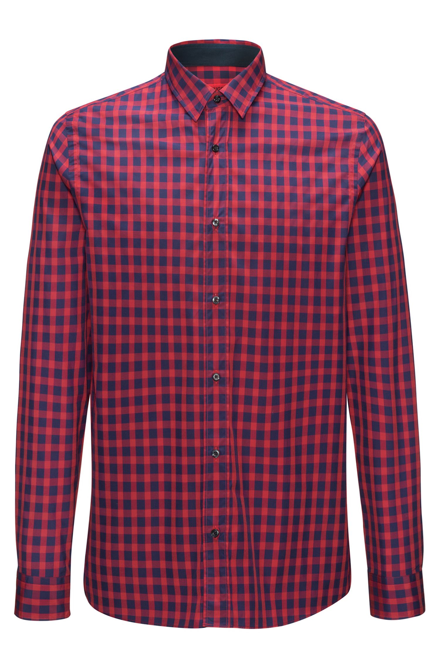 Gingham Cotton Sport Shirt, Straight Fit | Evory