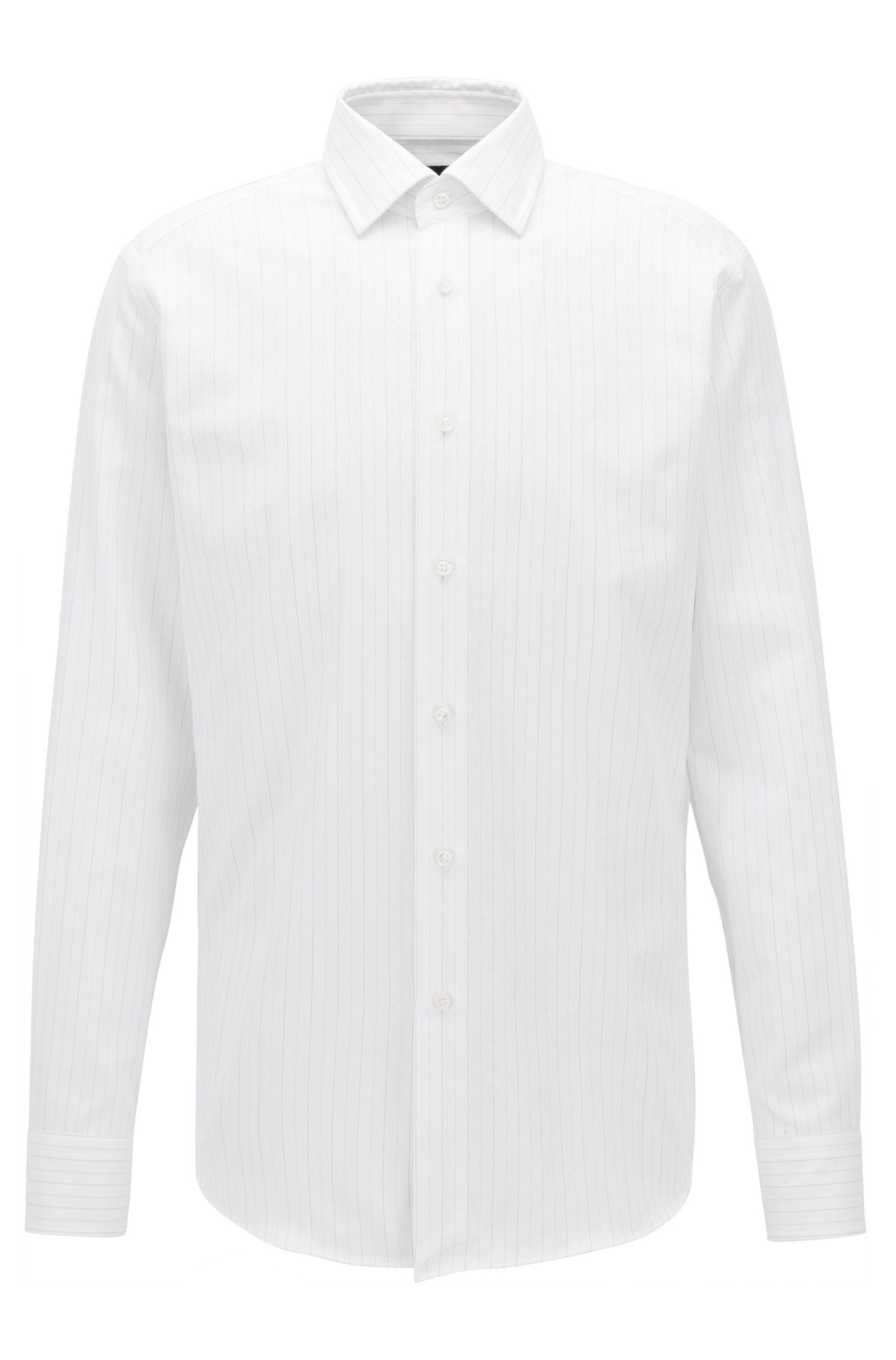 Striped Cotton Dress Shirt, Regular Fit | T-Stuart, White