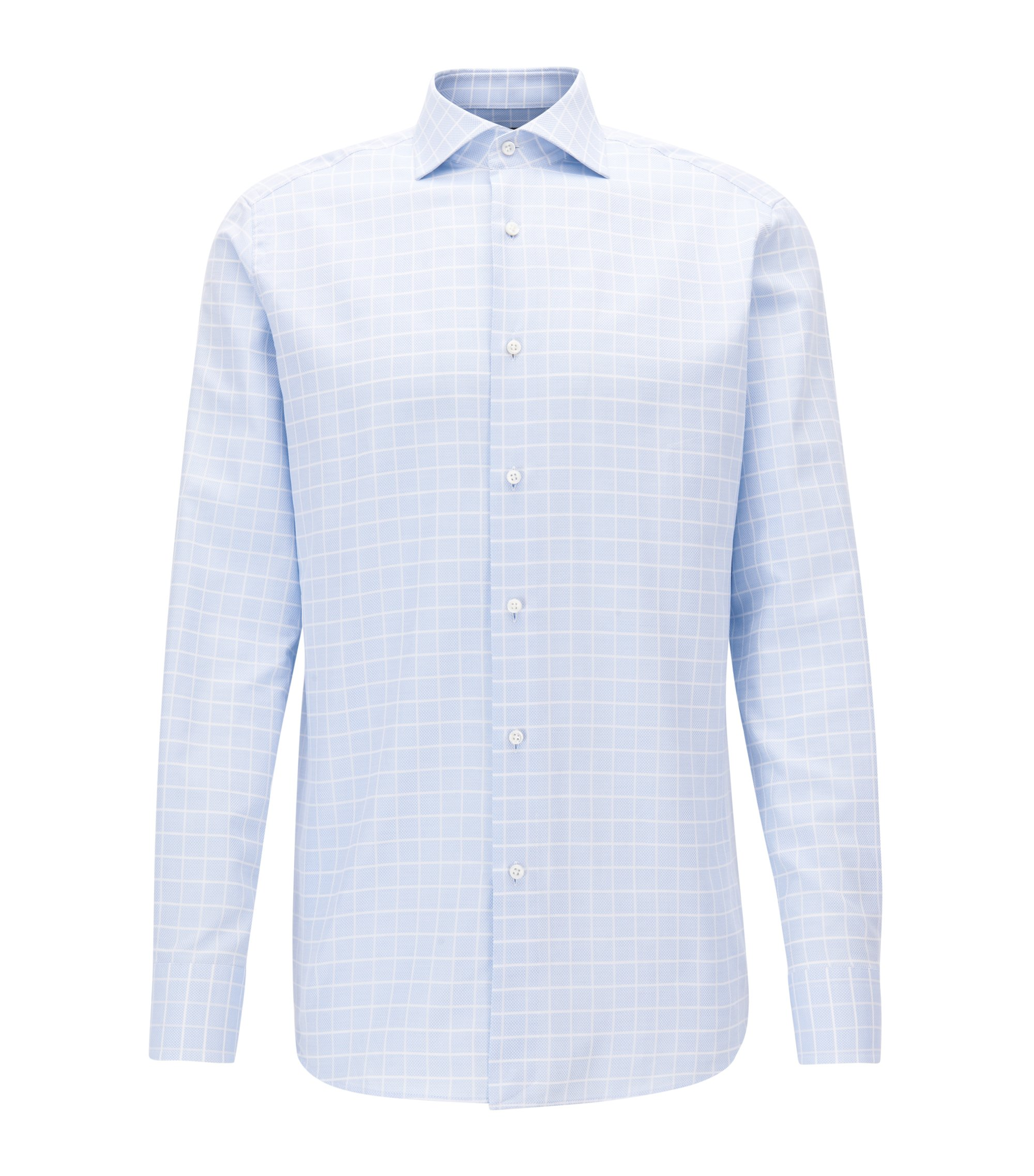 Check Cotton Dress Shirt, Regular Fit | T-Stenson, Light Blue