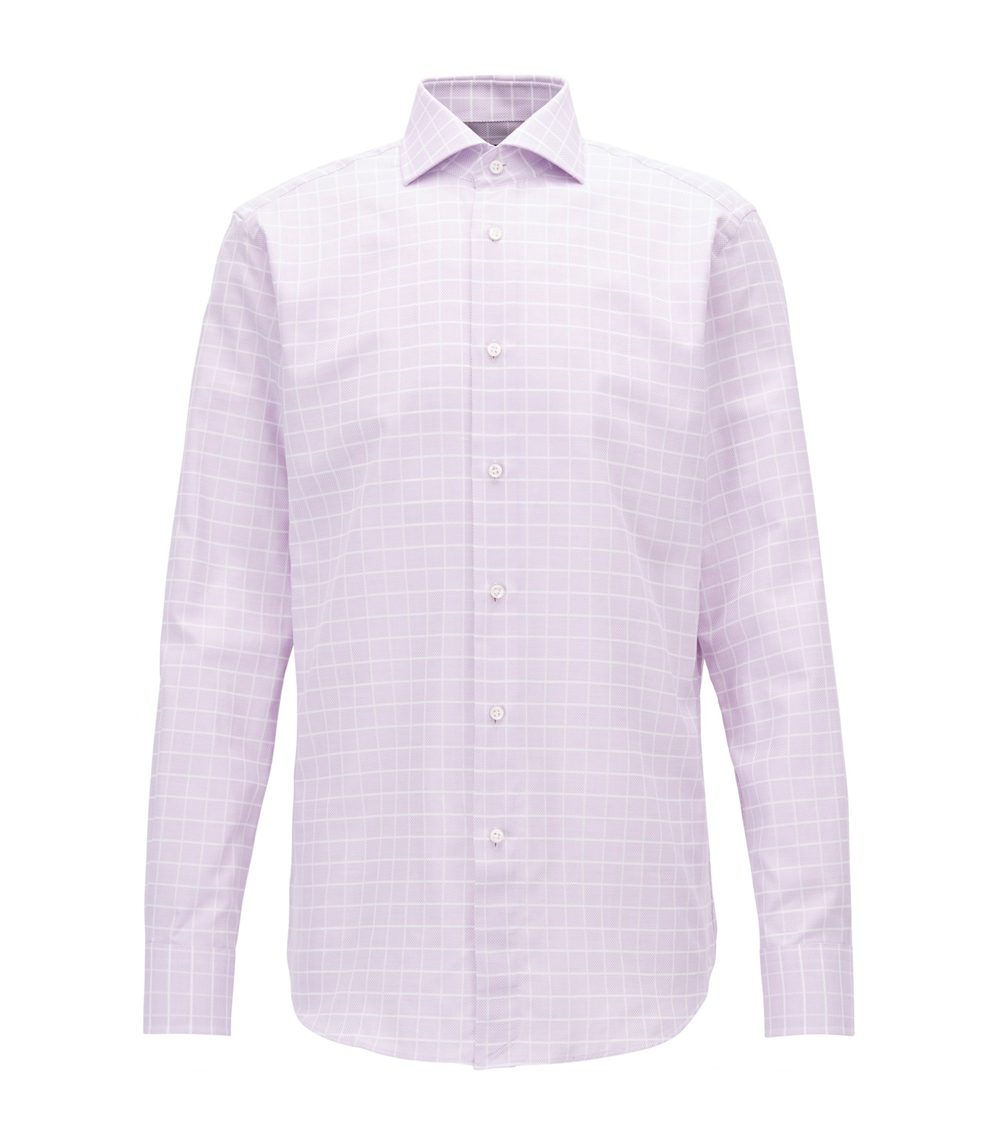 Check Cotton Dress Shirt, Regular Fit | T-Stenson, Purple