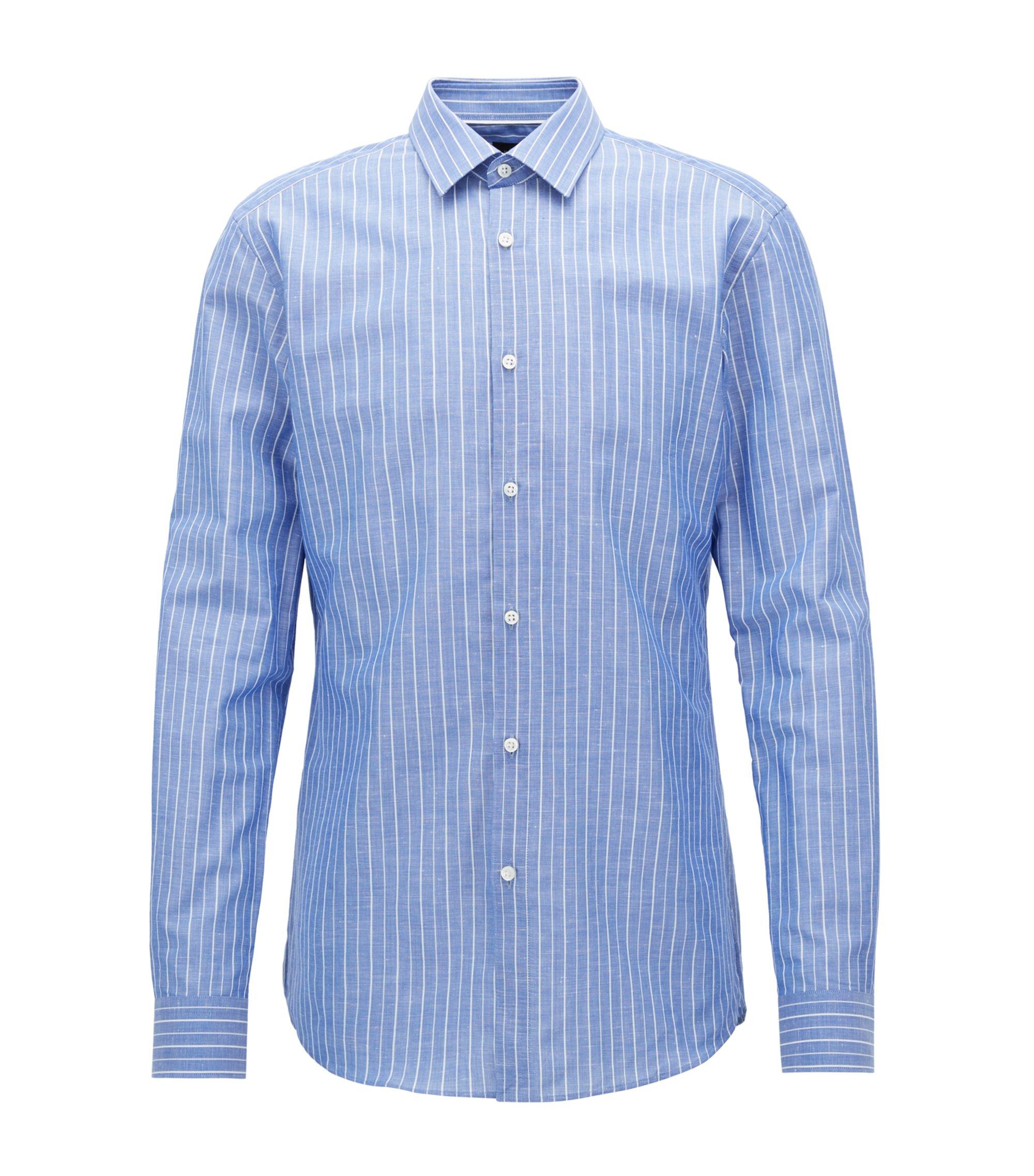 Pinstriped Cotton Linen Dress Shirt, Slim Fit | T-Scott, Blue