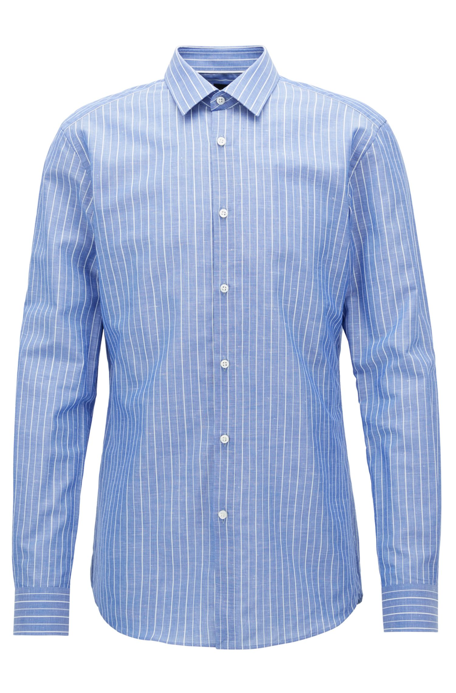 Pinstriped Cotton Linen Dress Shirt, Slim Fit | T-Scott, Blue