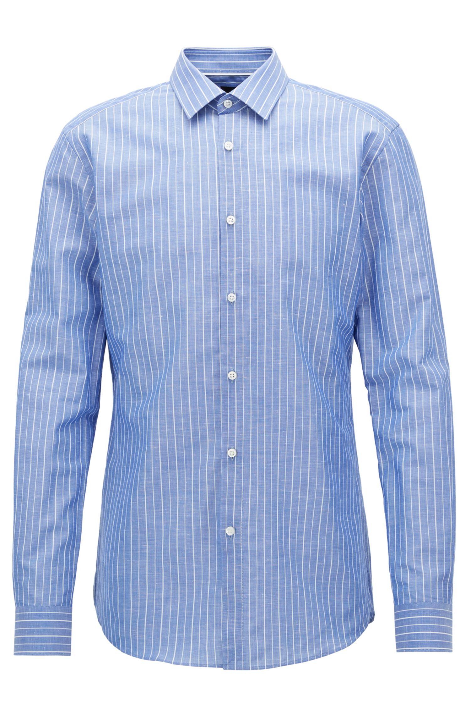 Pinstriped Cotton Linen Dress Shirt, Slim Fit | T-Scott