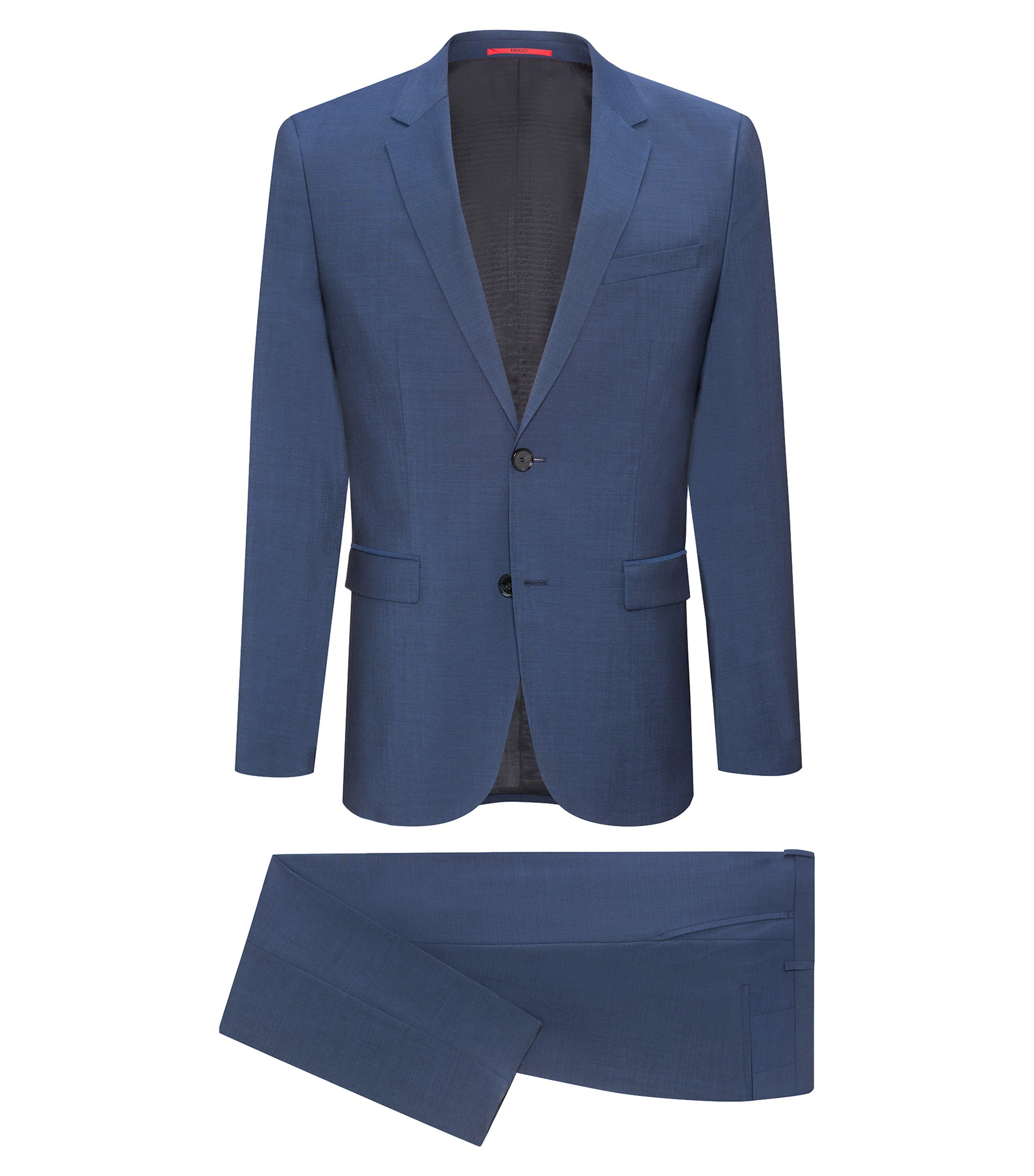 Italian Virgin Wool Suit, Extra Slim Fit | Astian/Hets, Blue