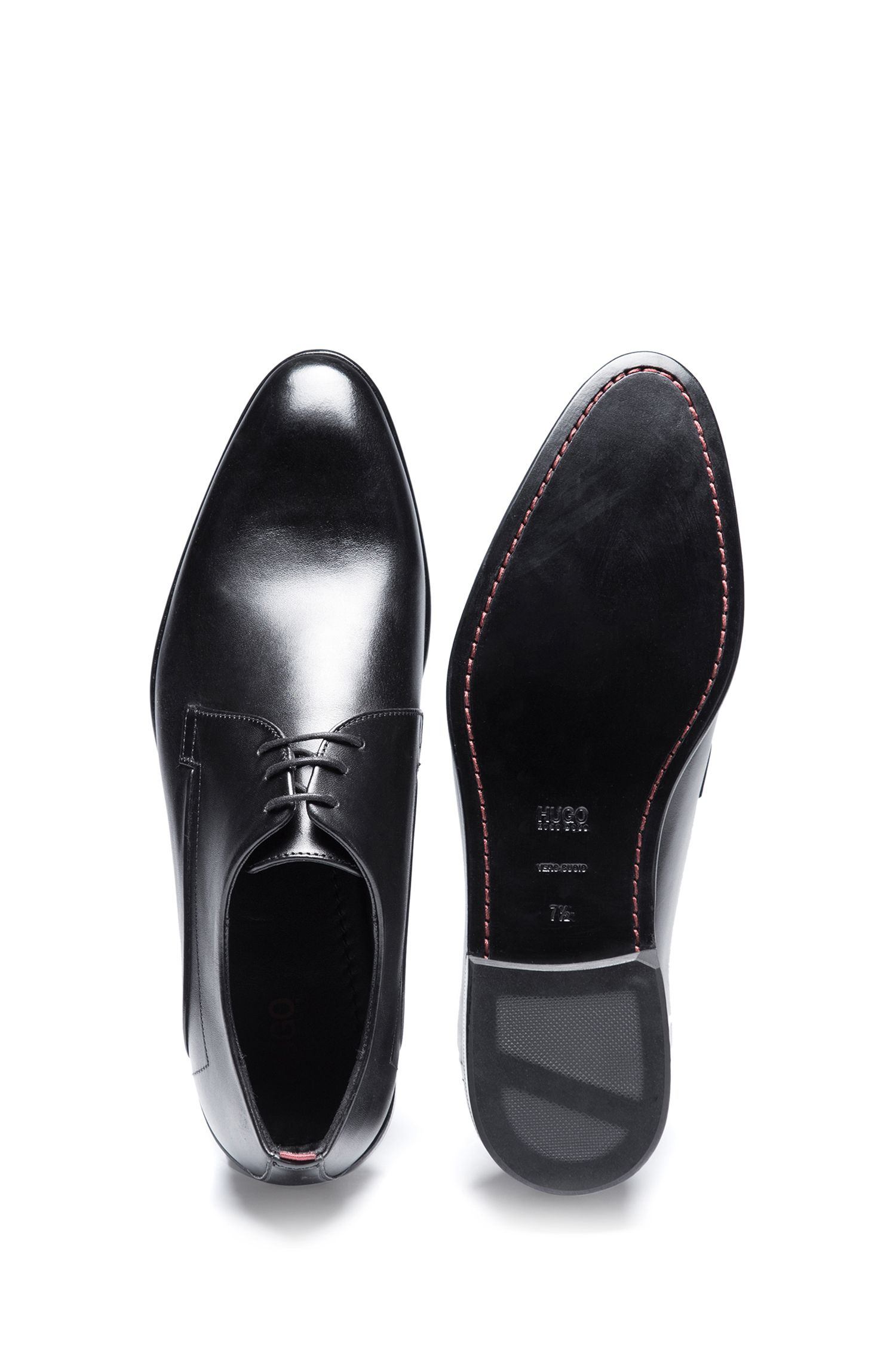 Calf-leather Derby shoes with full leather sole, Black
