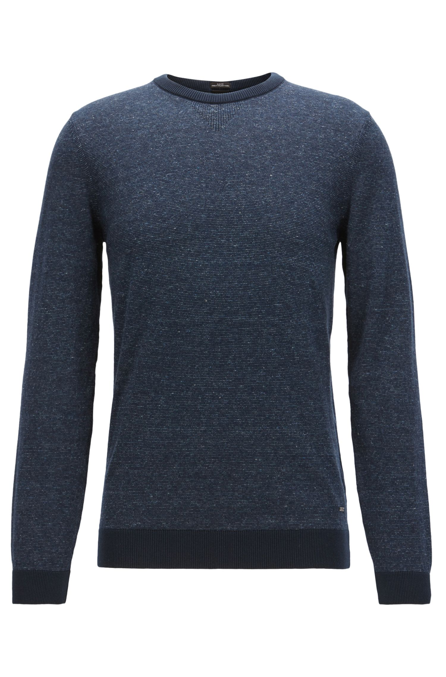 Italian Cotton Linen Sweater | Devis, Dark Blue