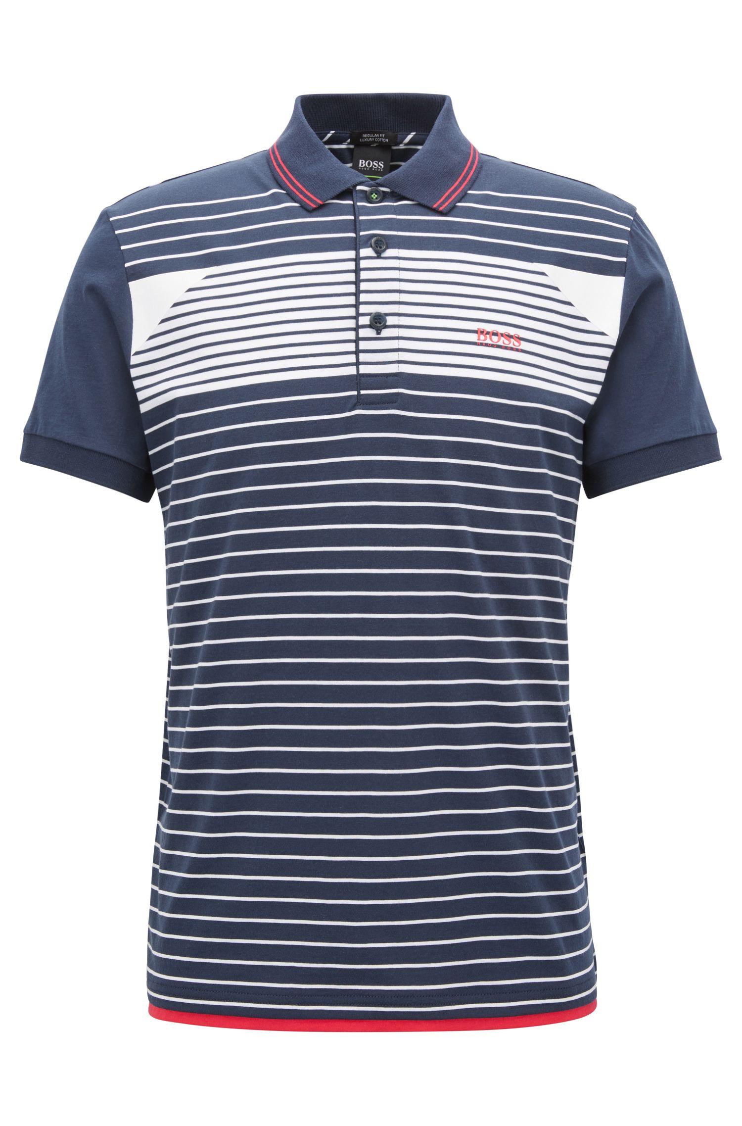 Striped Cotton Polo Shirt, Regular Fit | Paddy, Dark Blue