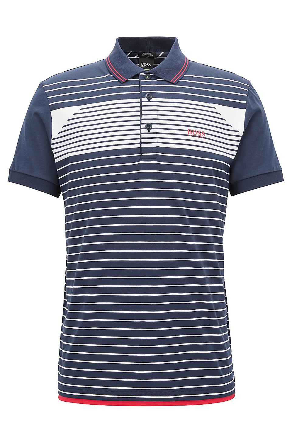 b6a86a59d BOSS - Striped Cotton Polo Shirt, Regular Fit   Paddy
