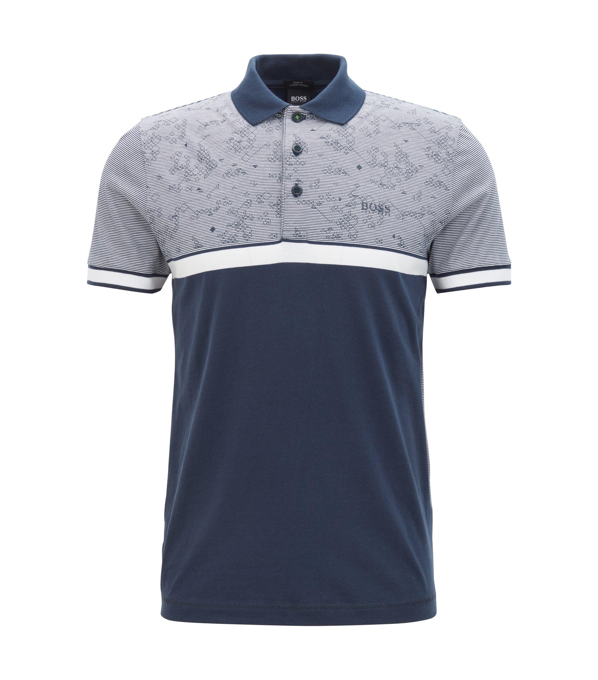 Colorblock Cotton Polo Shirt, Slim Fit | Paule, Dark Blue