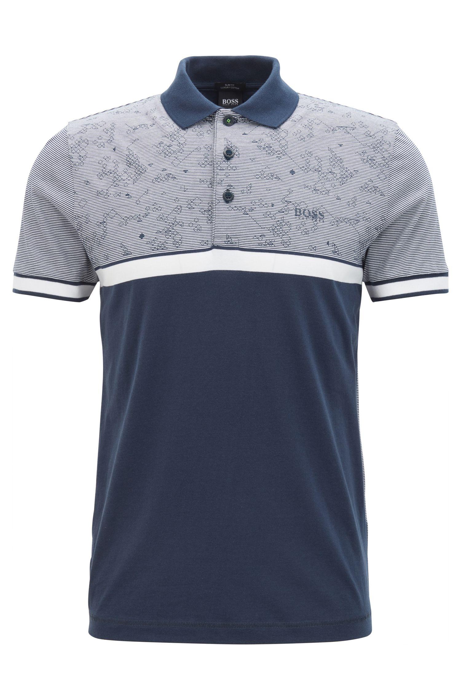 Colorblock Cotton Polo Shirt, Slim Fit | Paule