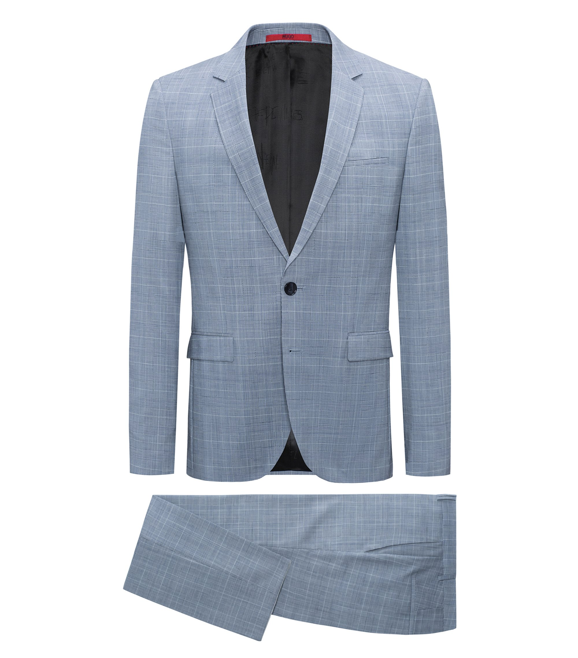 Plaid Virgin Wool Suit, Extra Slim Fit | Phil/Taylor, Turquoise