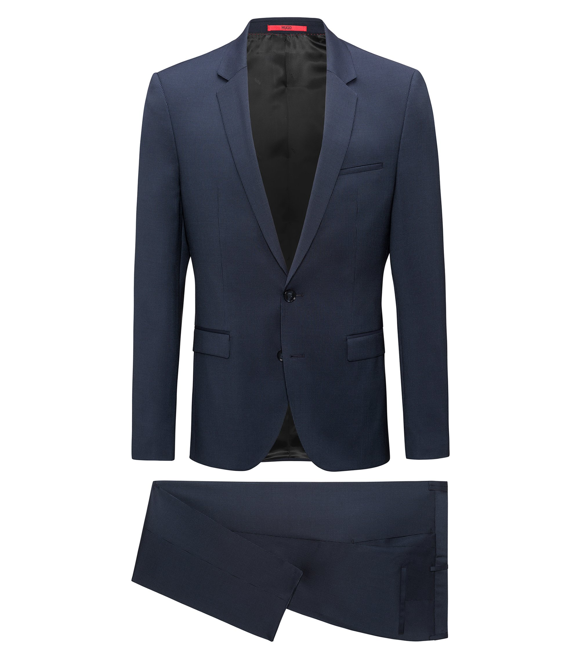 Chalkstripe Virgin Wool Suit, Extra Slim Fit | Phil/Taylor, Dark Blue