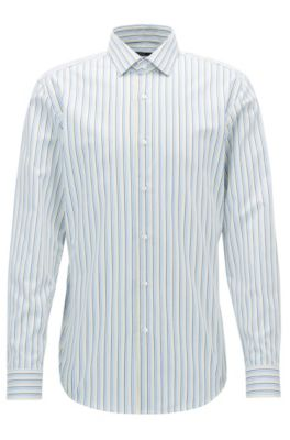 Striped Cotton Dress Shirt, Slim Fit   Ismo, Yellow
