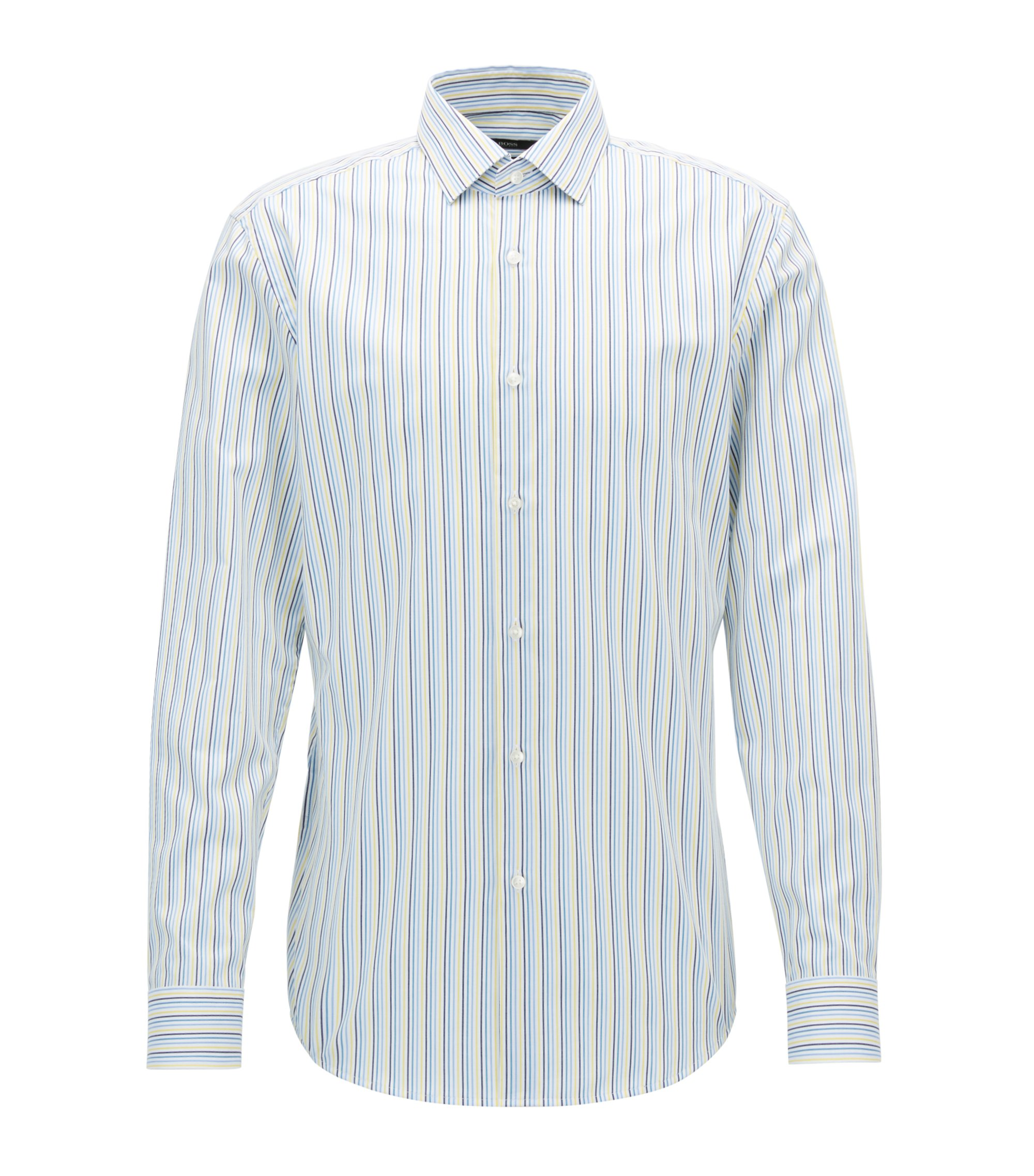 Striped Cotton Dress Shirt, Slim Fit | Ismo, Yellow