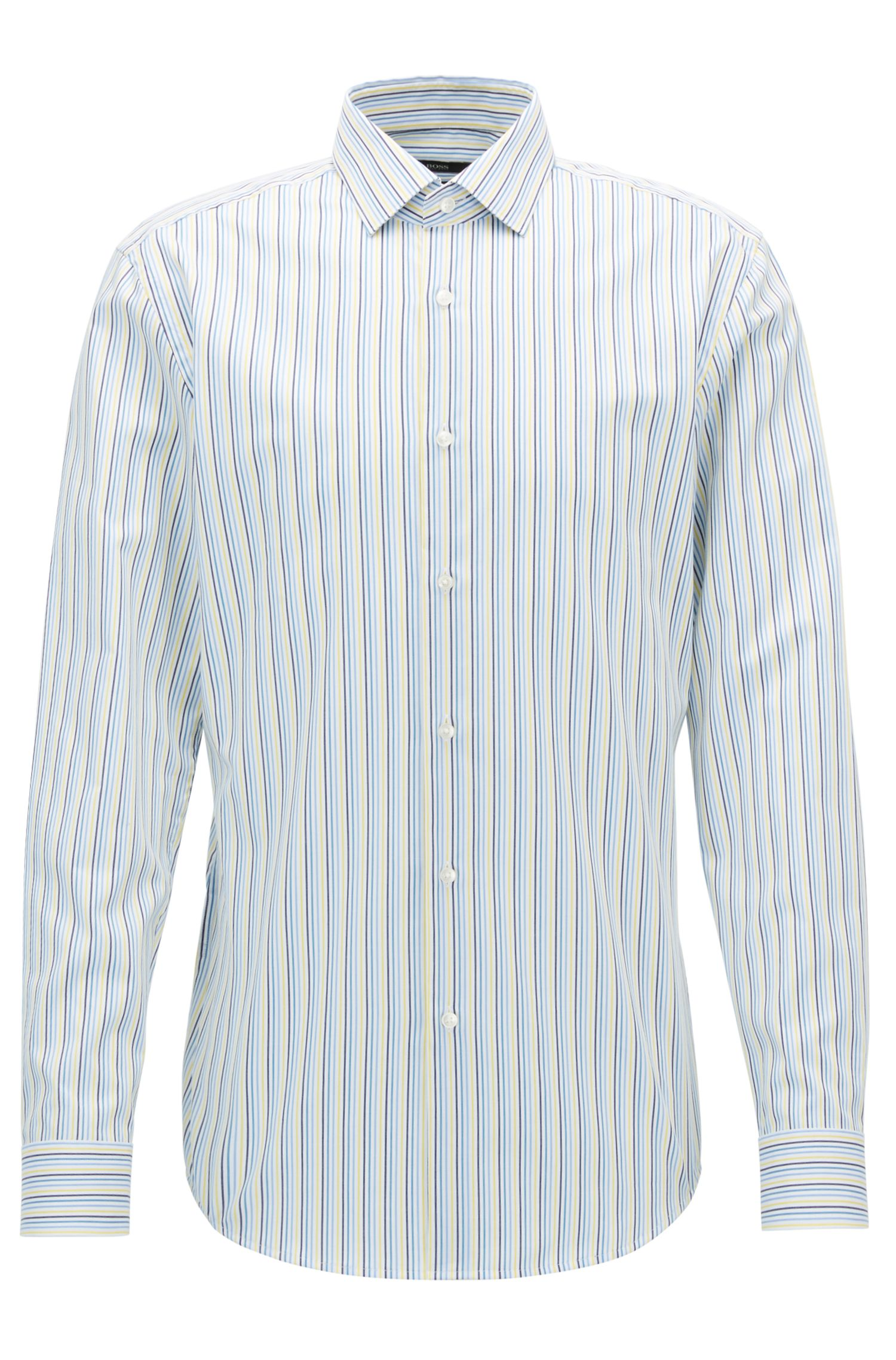 Striped Cotton Dress Shirt, Slim Fit | Ismo