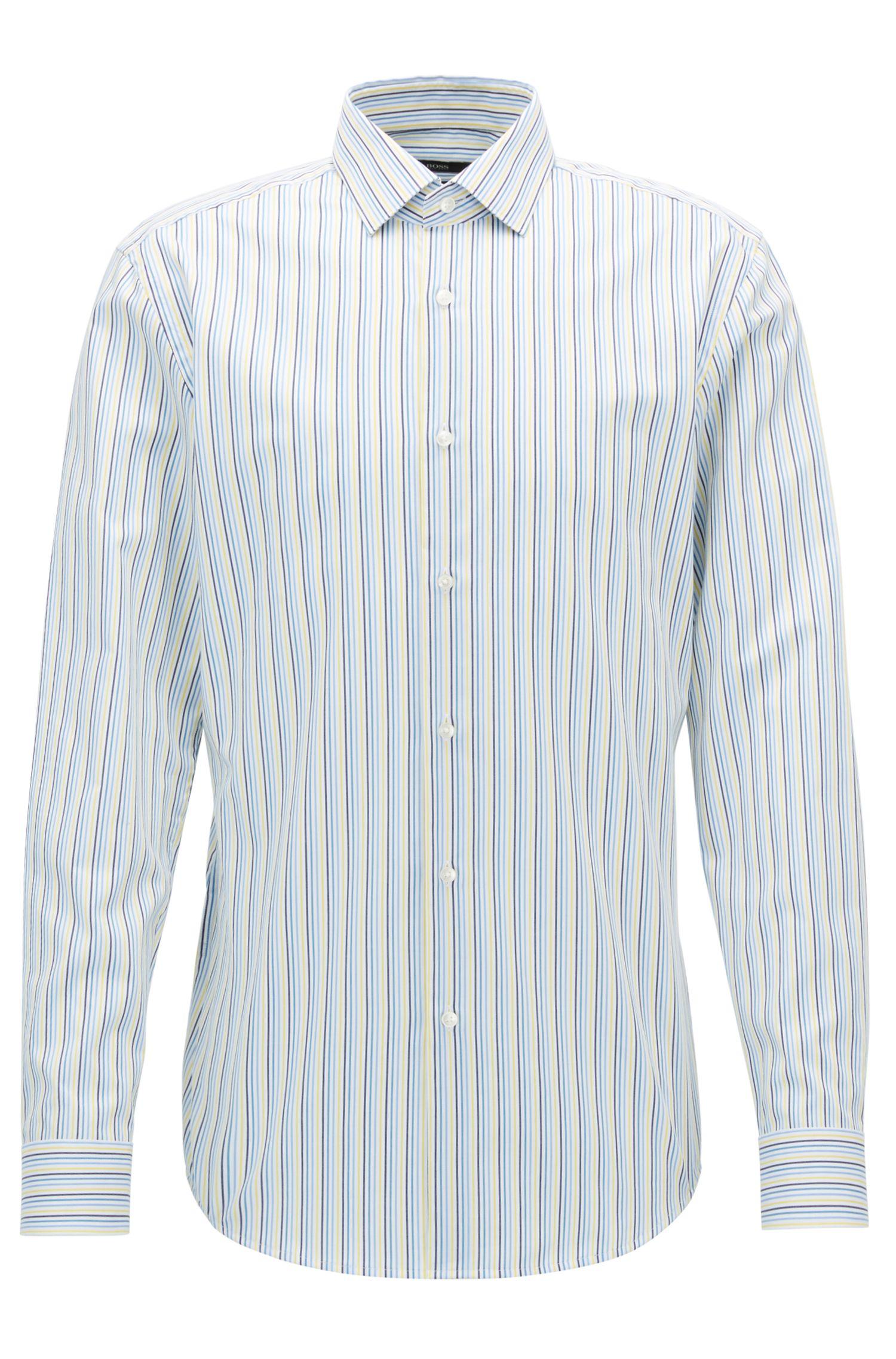 Striped Cotton Dress Shirt, Slim Fit   Ismo