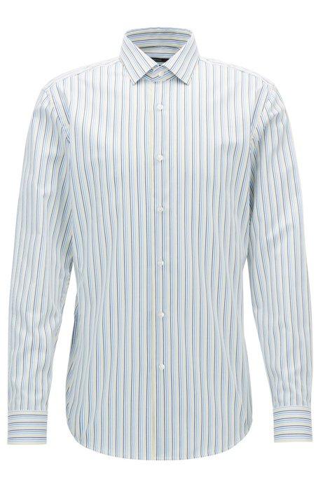 Striped Cotton Dress Shirt, Slim Fit | Ismo, Yellow
