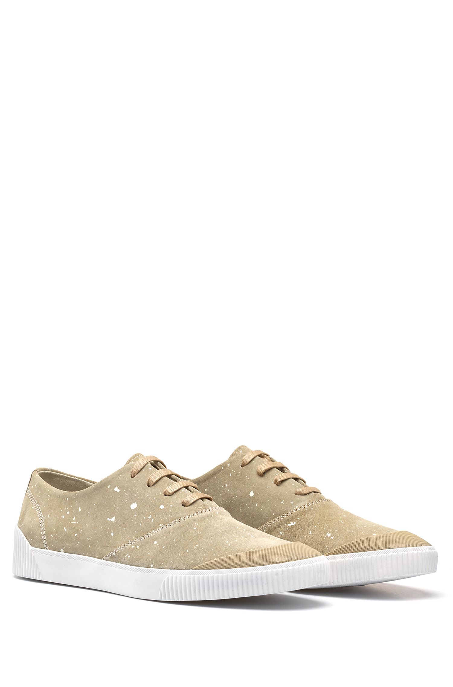 Paint Splattered Suede Tennis Shoe | Zero Tenn, Beige