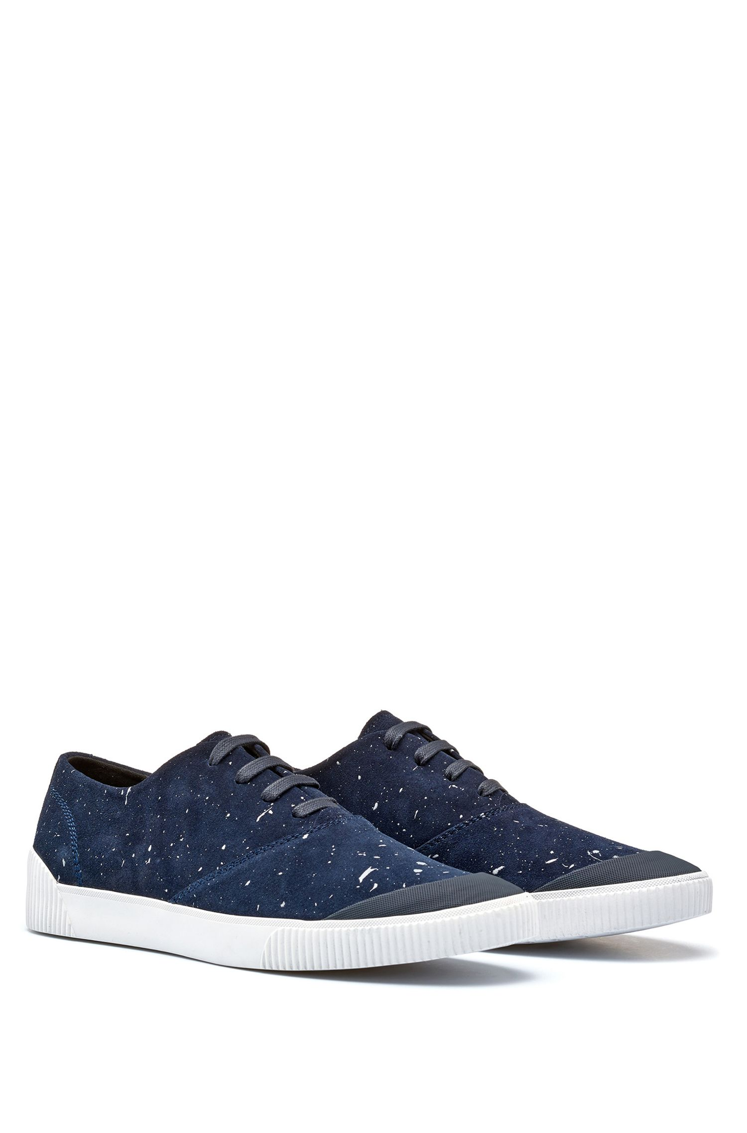 Paint Splattered Suede Tennis Shoe | Zero Tenn, Dark Blue