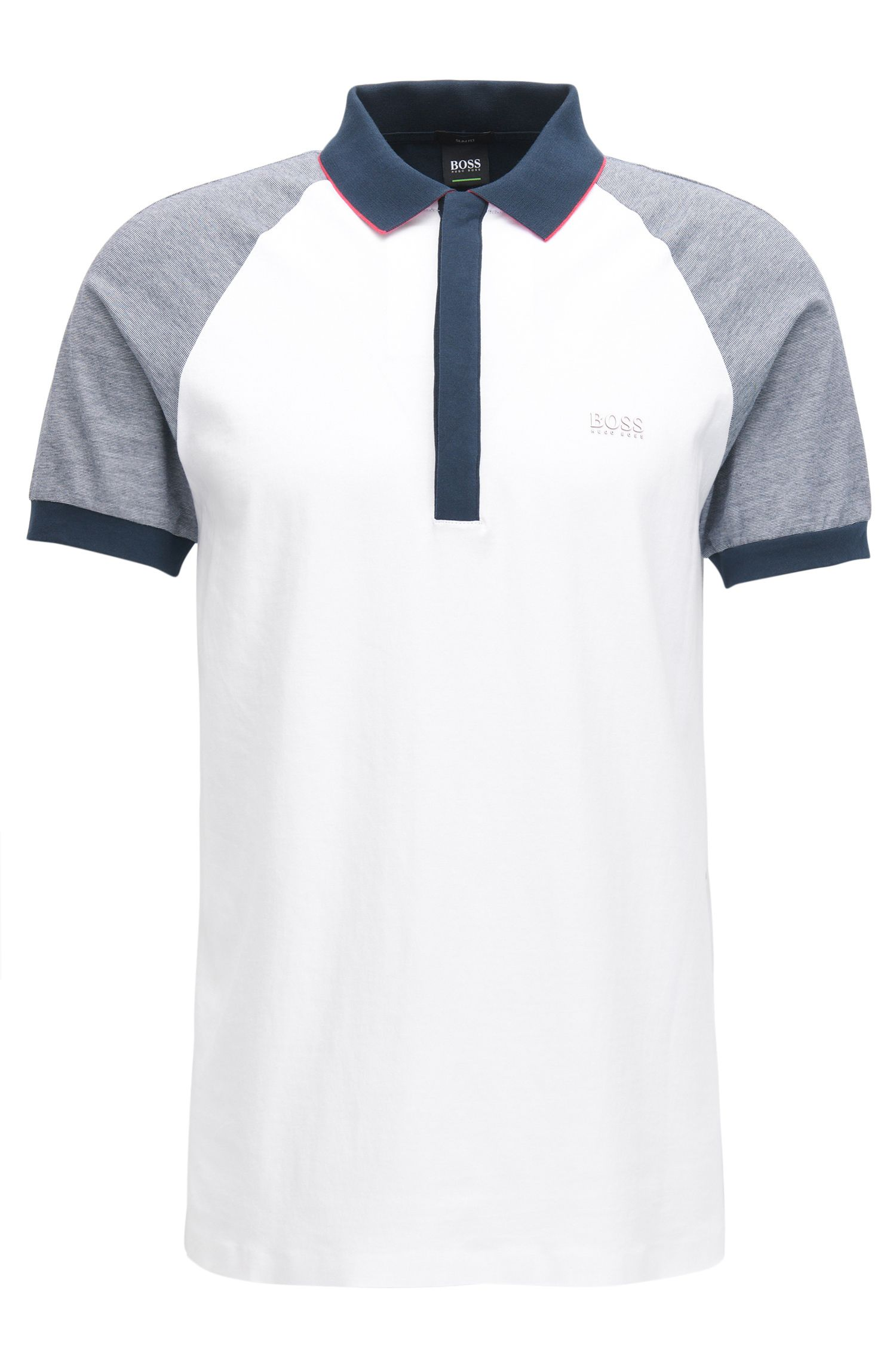 Colorblocked Cotton Polo Shirt, Regular Fit | Pless, White