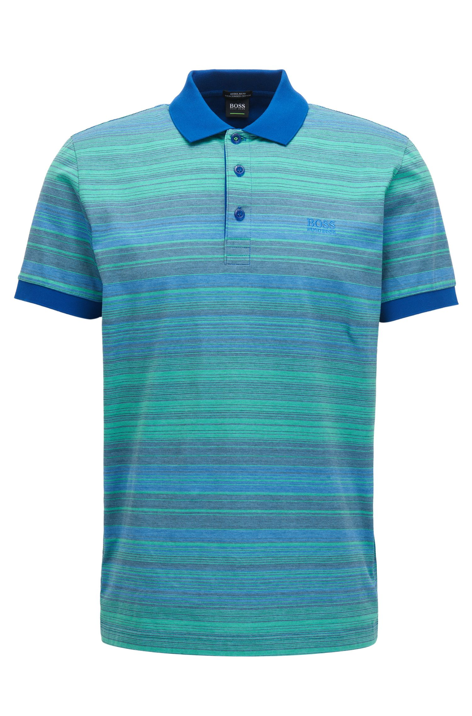 Striped Mercerized Cotton Polo Shirt, Regular Fit | Paddy, Open Blue