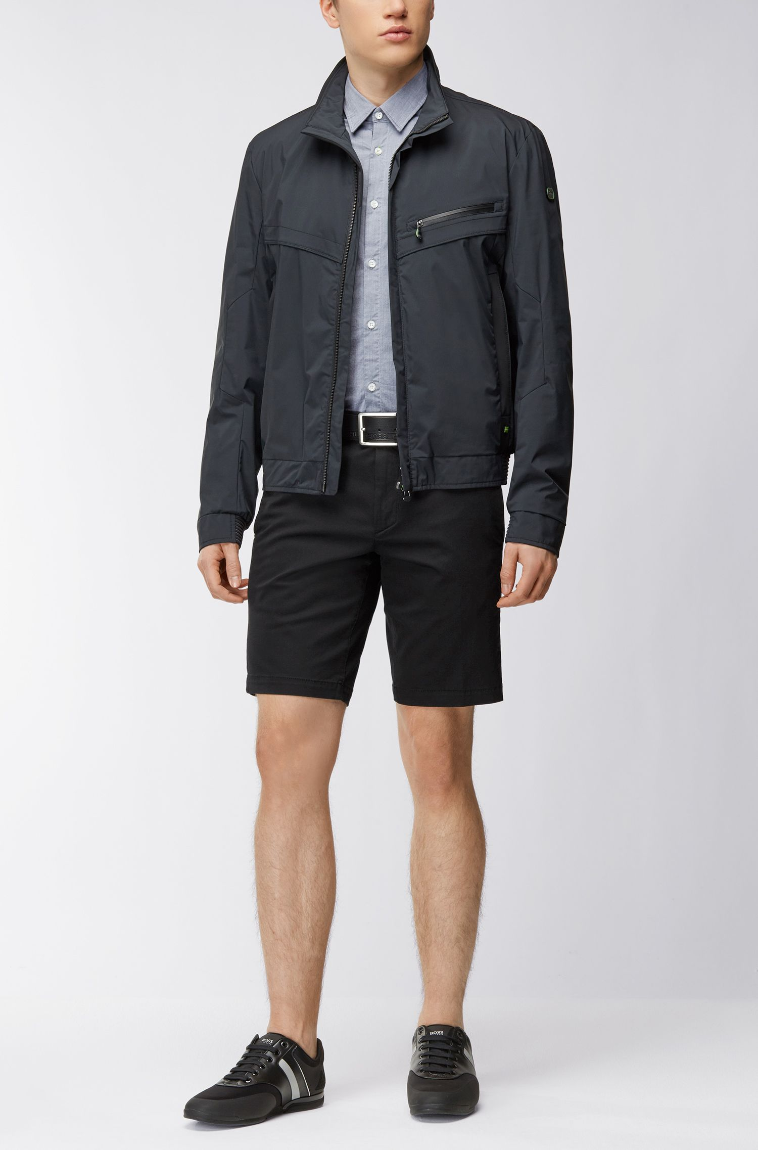Slim-fit shorts in stretch satin, Black
