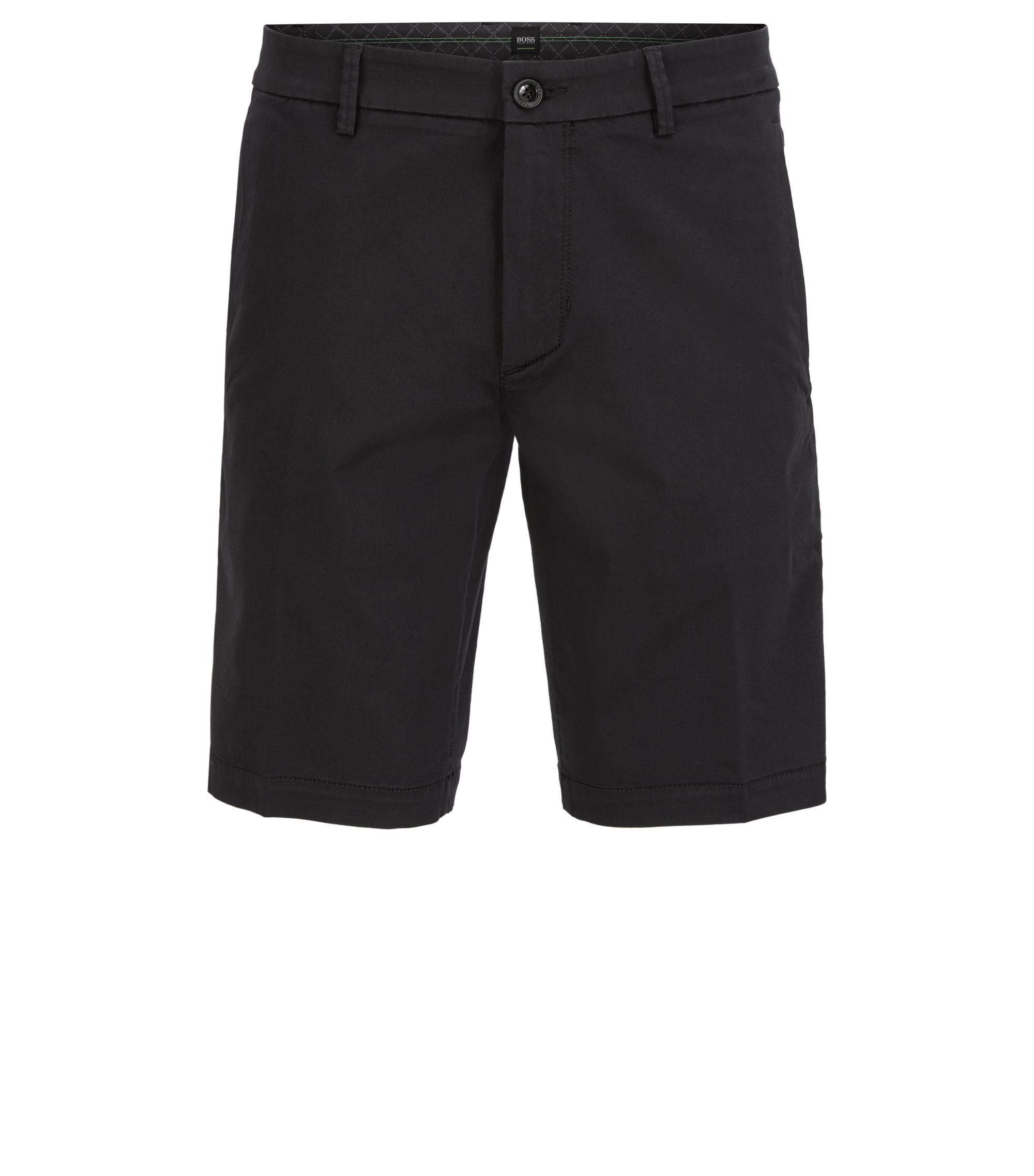 Slim-fit shorts in stretch satin, Black