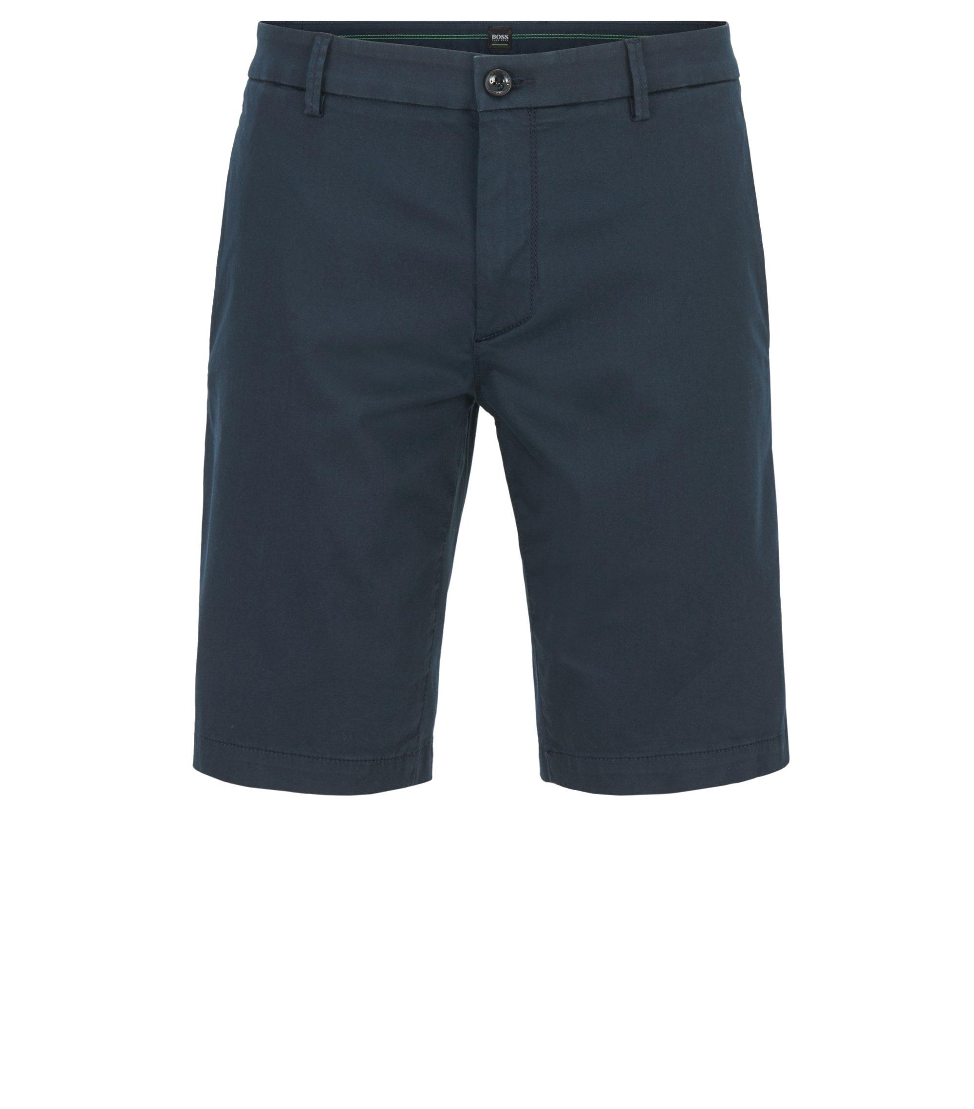 Slim-fit shorts in stretch satin, Dark Blue