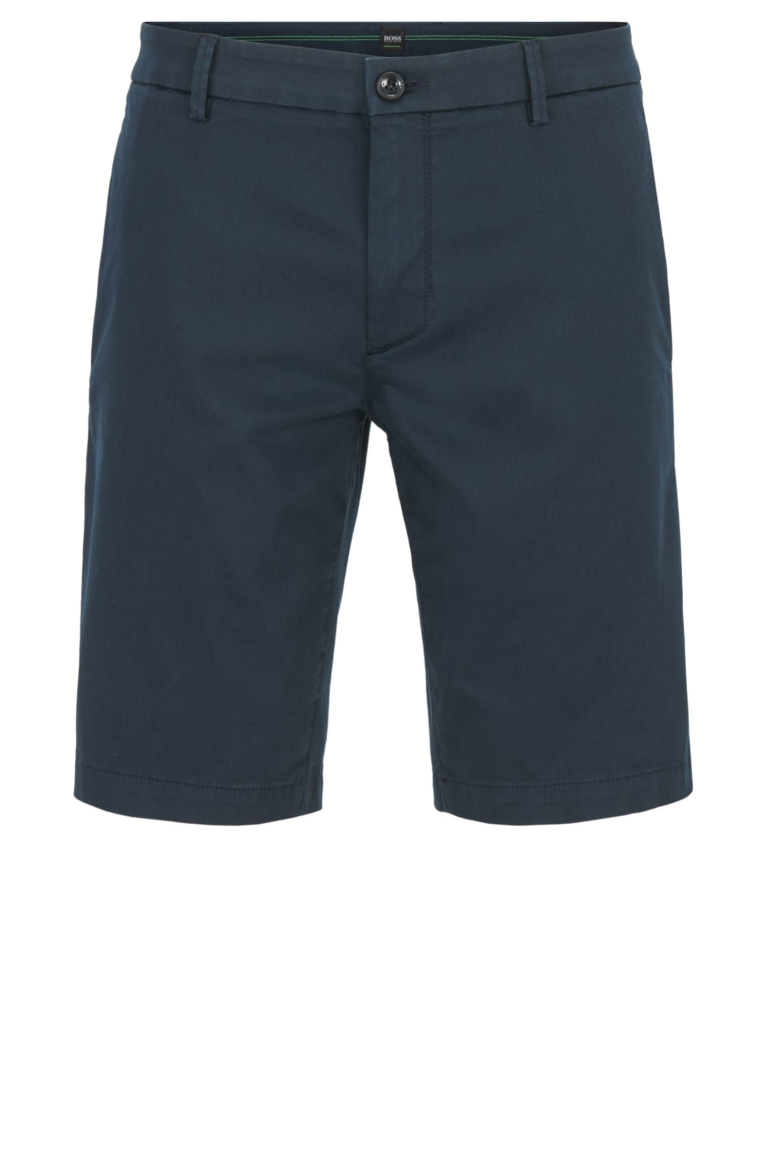 Slim-fit shorts in stretch satin, Dark Blue