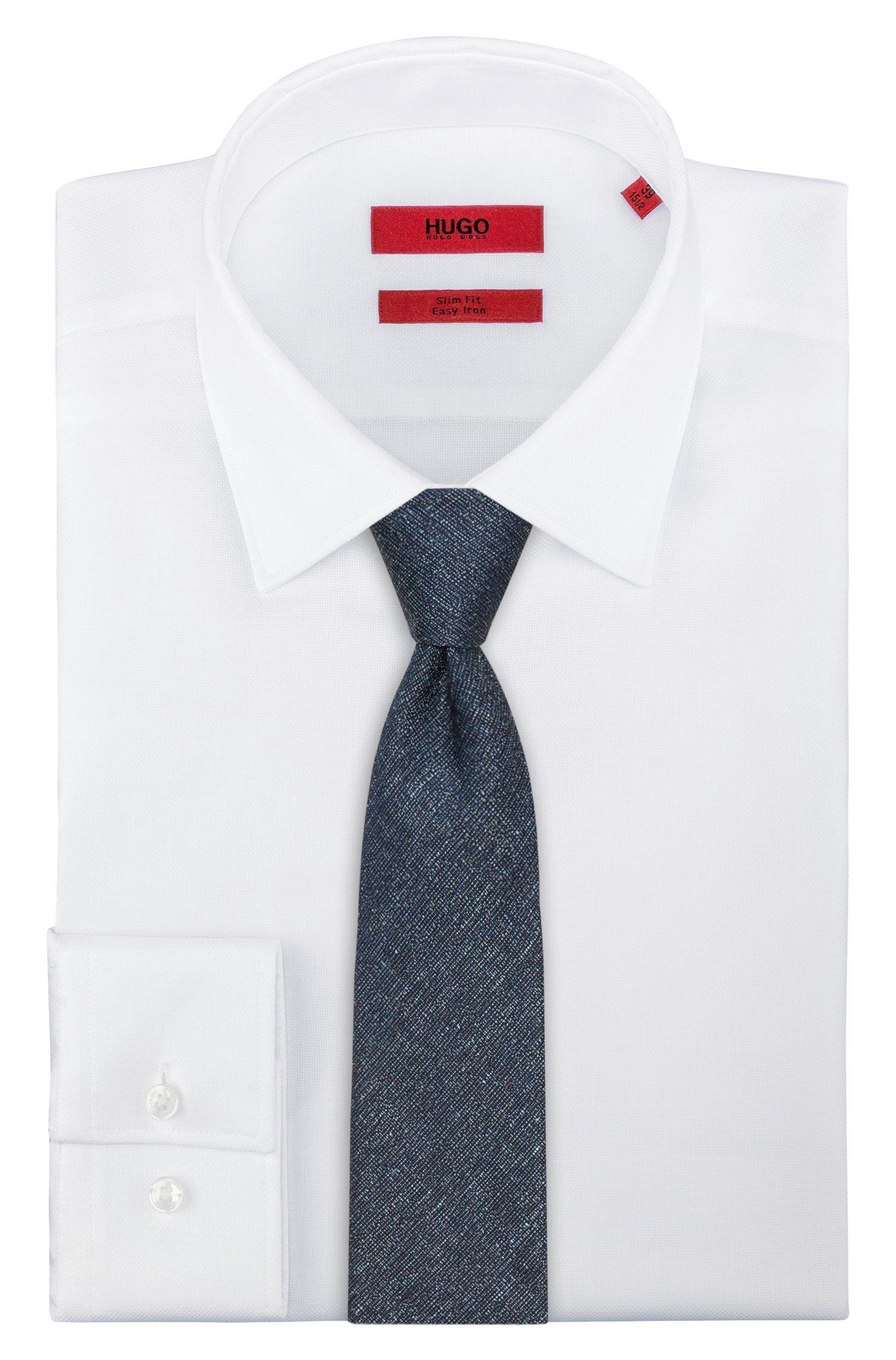Silk-Linen Slim Tie, Dark Blue